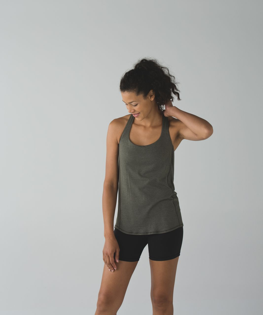 Lululemon Wild Tank - Heathered Gator Green / Ziggy Snake Butter Pink Black