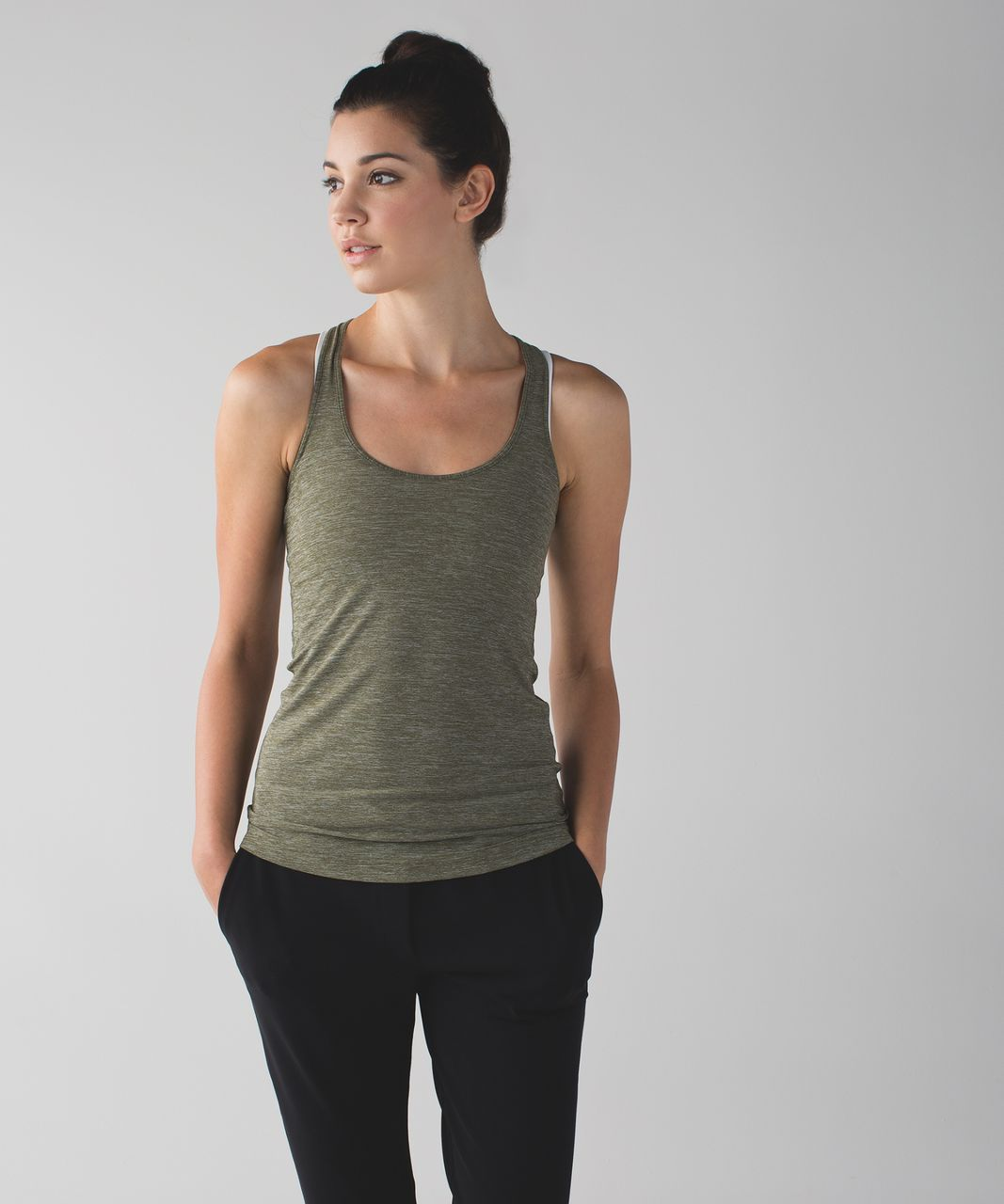 Lululemon Cool Racerback - Heathered Fatigue Green