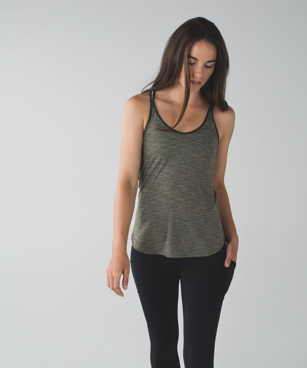 Lululemon What The Sport Singlet II - Heathered Fatigue Green