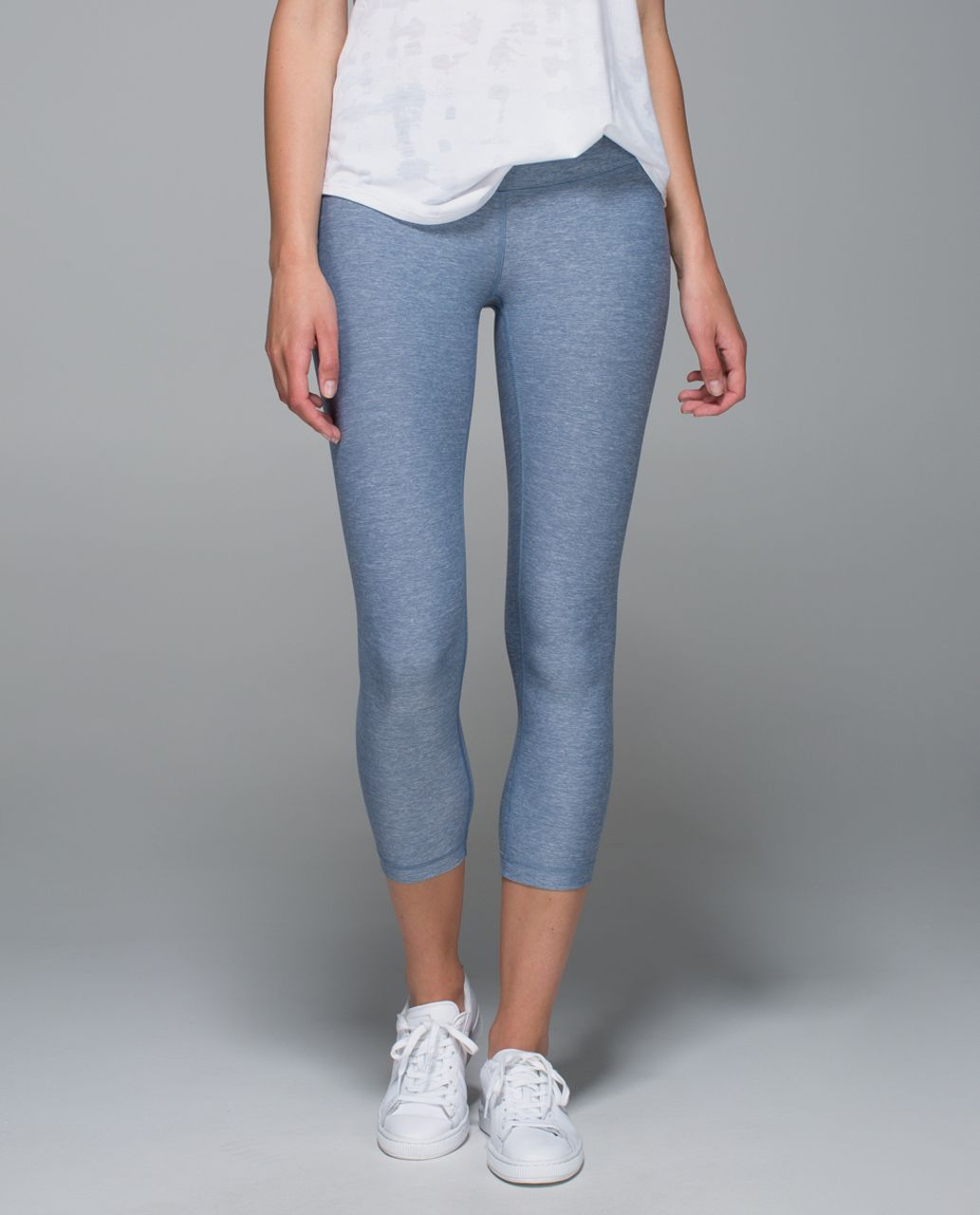 Lululemon Wunder Under Crop II - Heathered Blue Denim