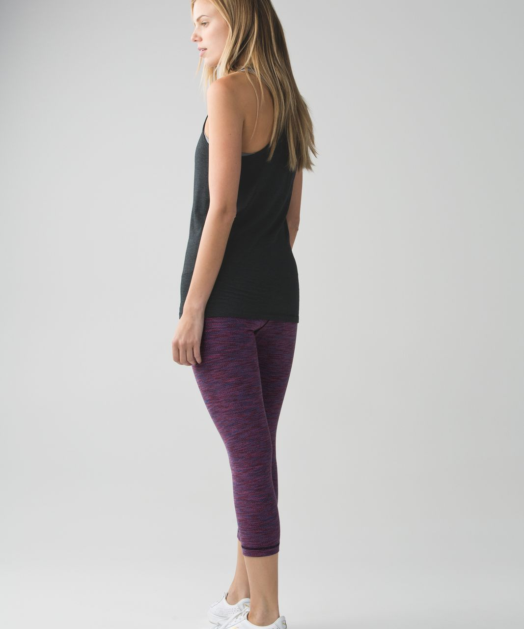 Lululemon Wunder Under Crop II (Roll Down) - Diamond Jacquard Space Dye Naval Blue Jewelled Magenta