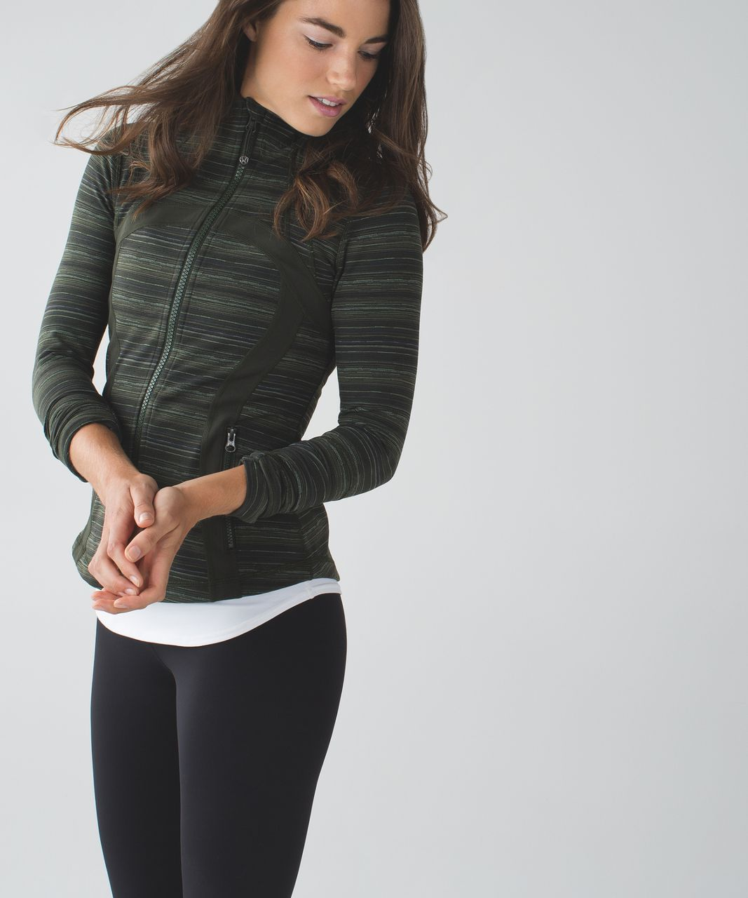 Lululemon Define Jacket - Cyber Stripe Gator Green Black