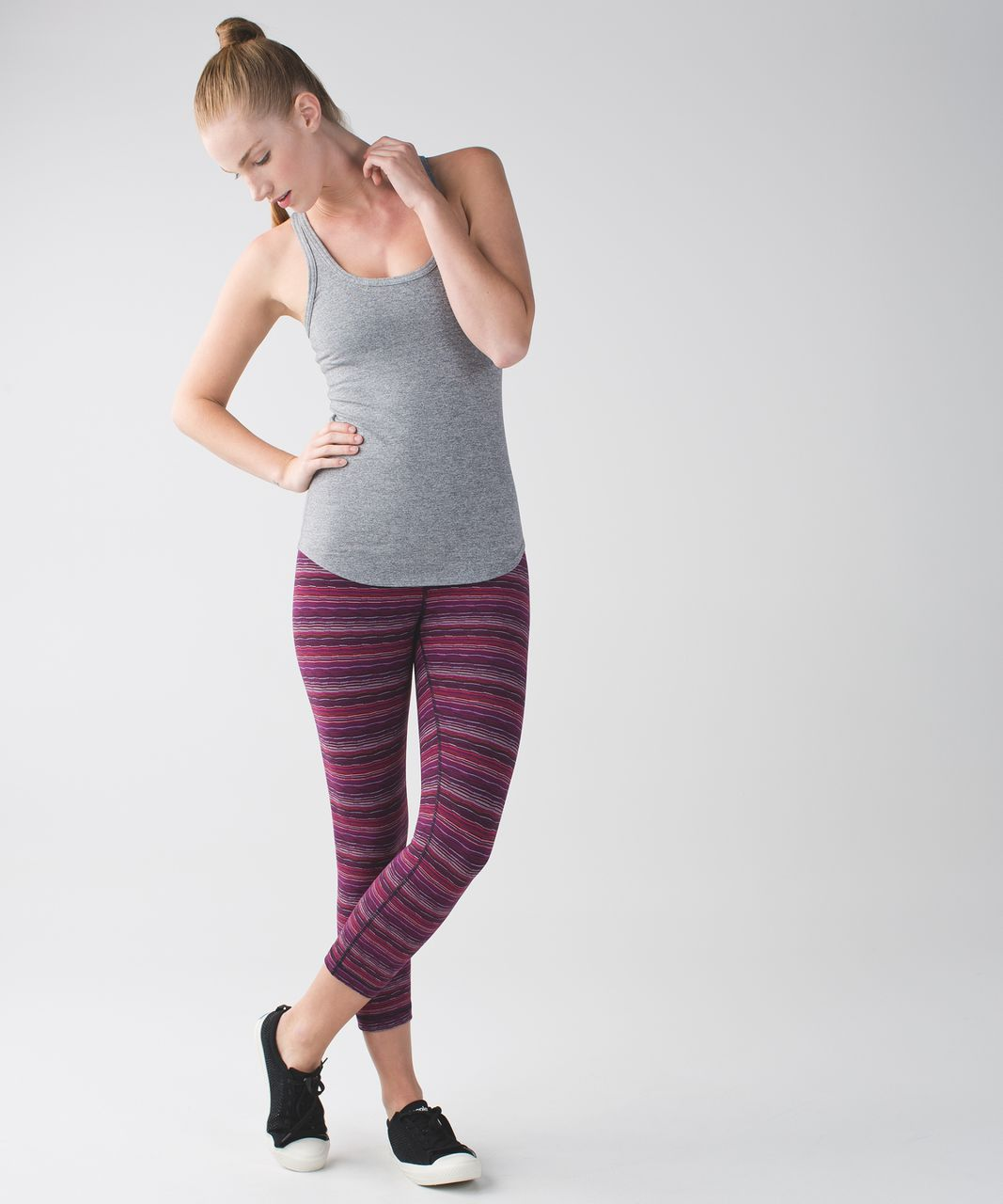 Lululemon Wunder Under Crop (Hi-Rise) - Space Dye Twist Regal Plum Alarming