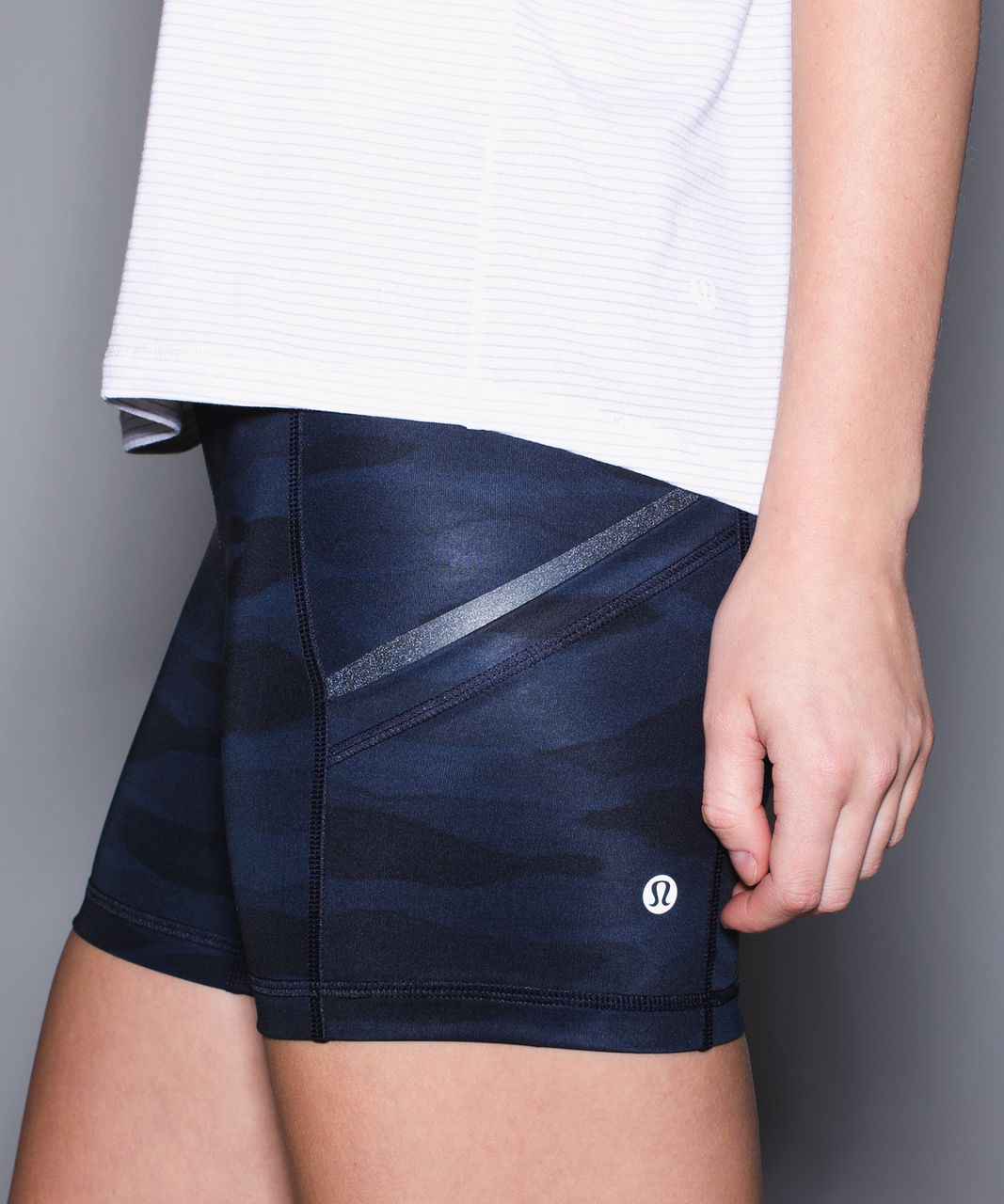 Lululemon What The Sport Short - Mini Coast Camo Deep Navy Black