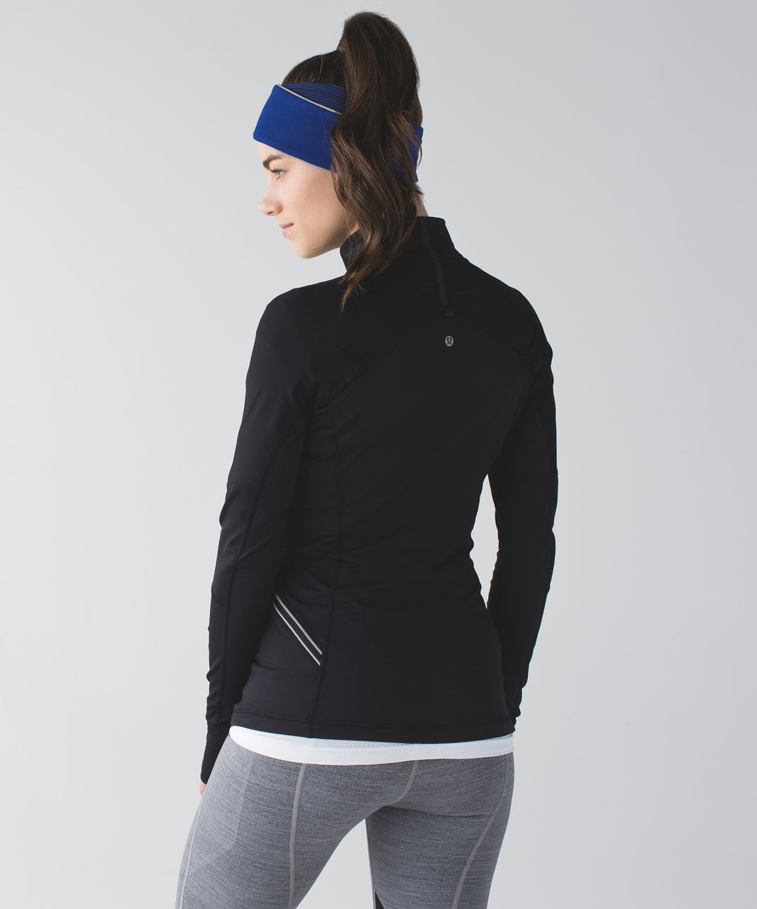 Lululemon Run And Done Ear Warmer - Kanto Stripe Sapphire Blue Black