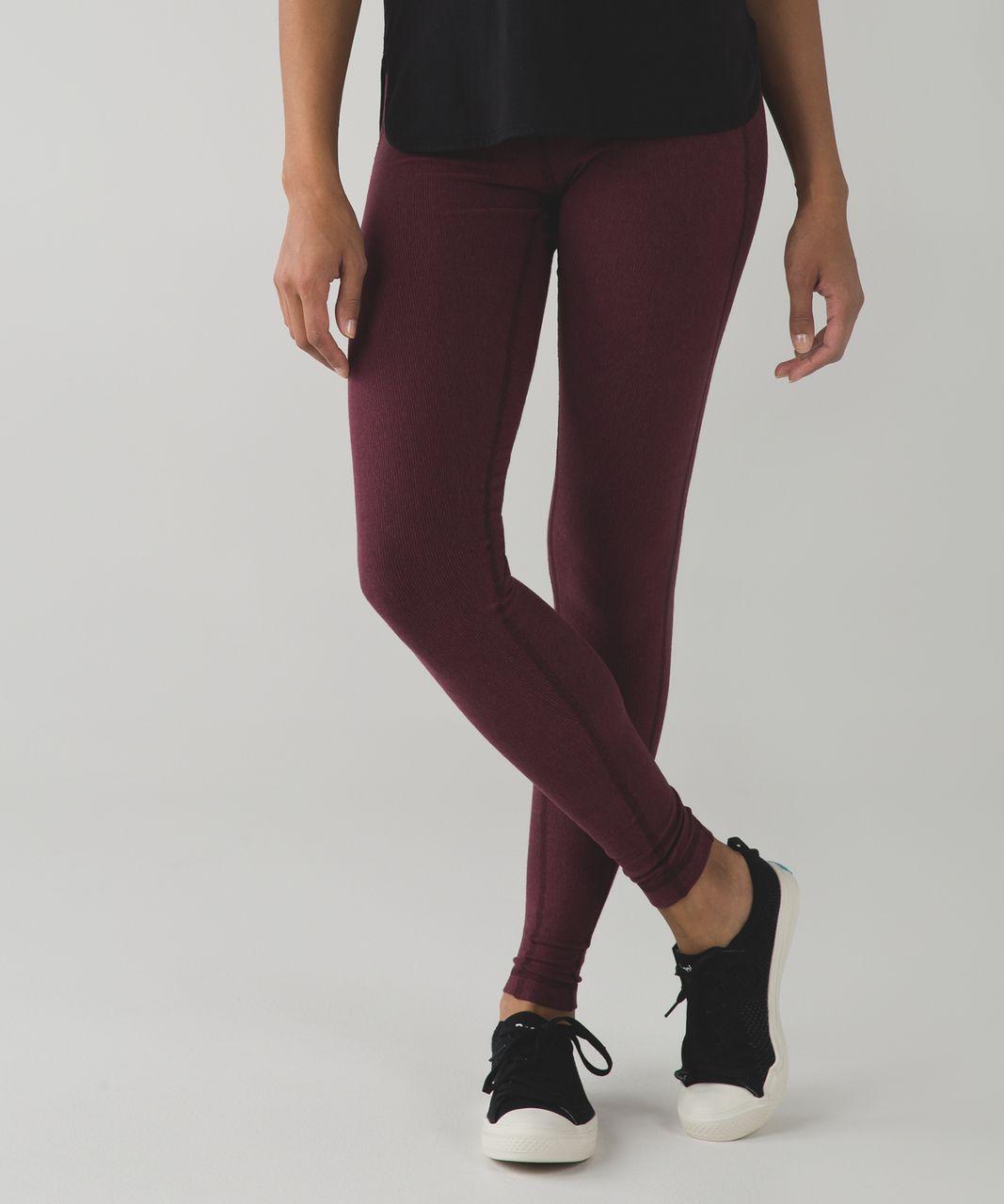 Lululemon Wunder Under Pant (Stripes) *Cotton - Wee Stripe Heathered Wine Berry Bordeaux Drama