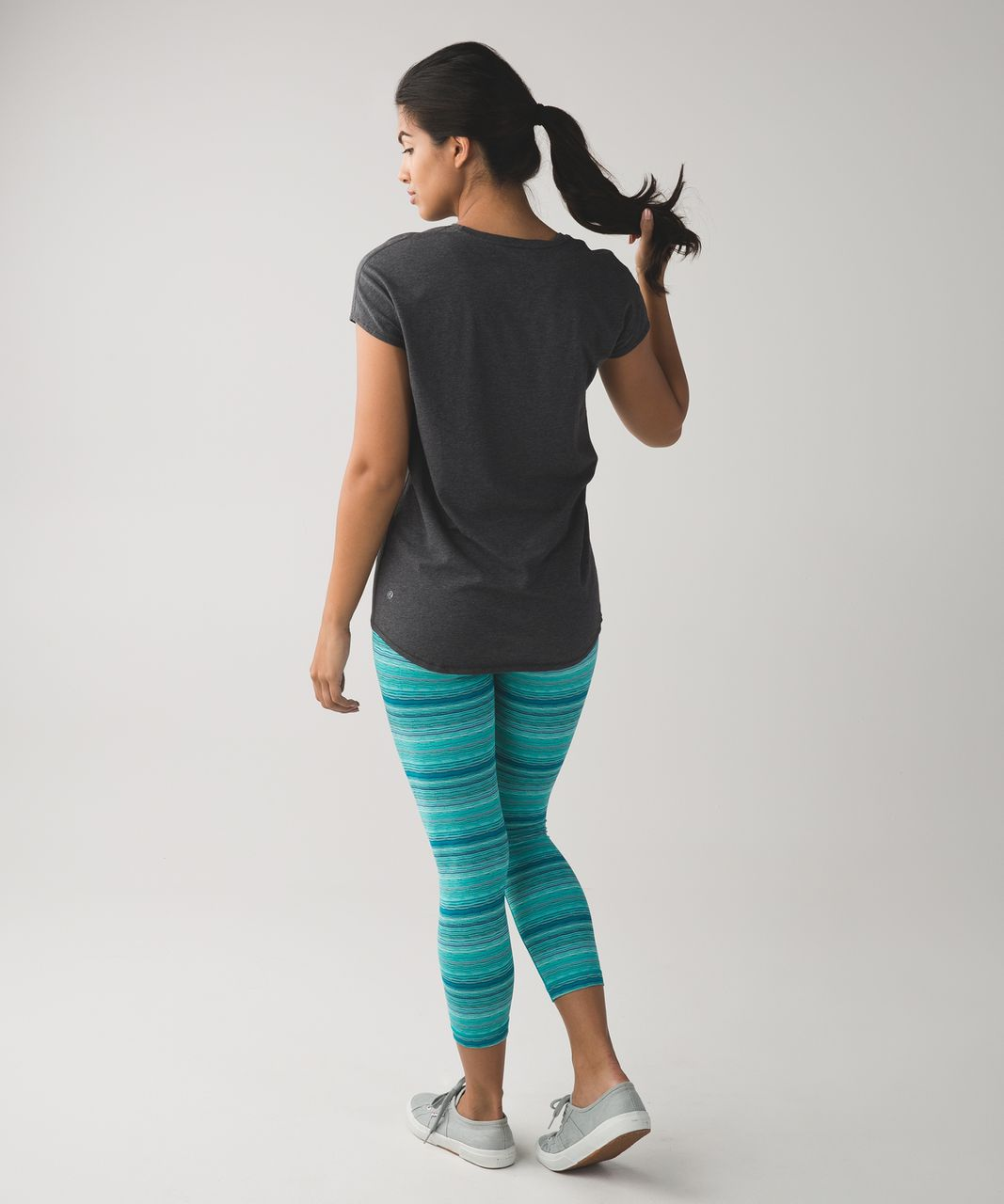 Lululemon Wunder Under Crop (Hi-Rise) *Luxtreme - Space Dye Twist Cosmic Teal Multi