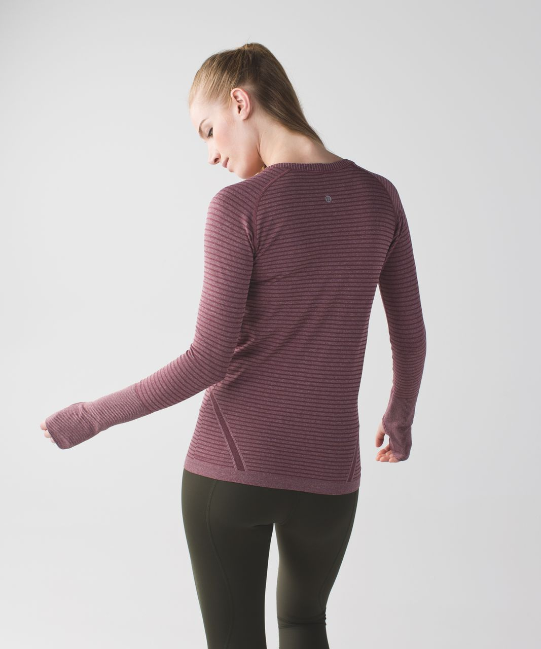 Lululemon Swiftly Tech Long Sleeve Crew - Heathered Bordeaux Drama