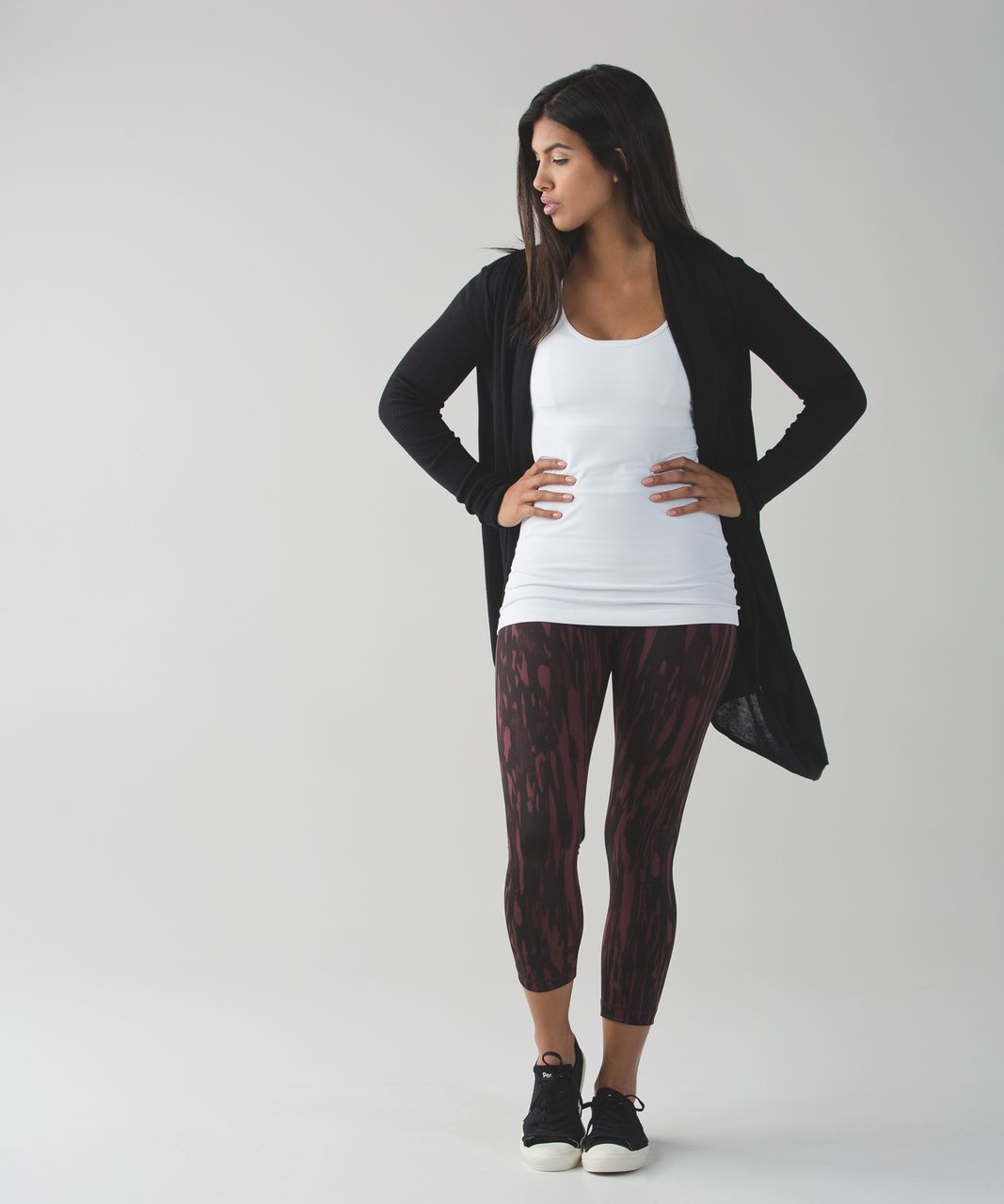 Lululemon Wunder Under Crop (Hi-Rise) *Full-On Luon - Painted Animal Bordeaux Drama Black