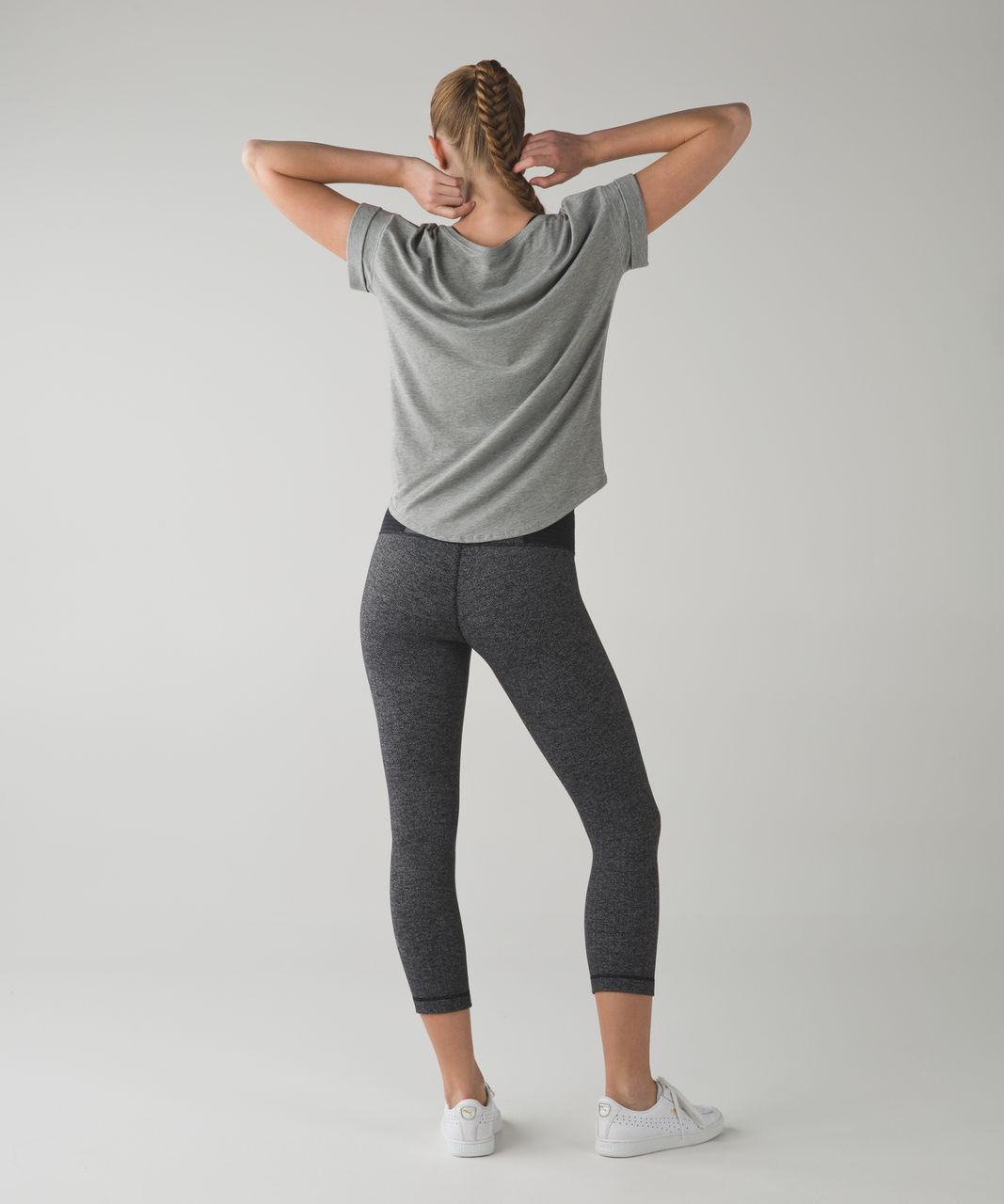 Lululemon Wunder Under Crop III - Heathered Herringbone Heathered Black Black / Fall 15 Quilt 1
