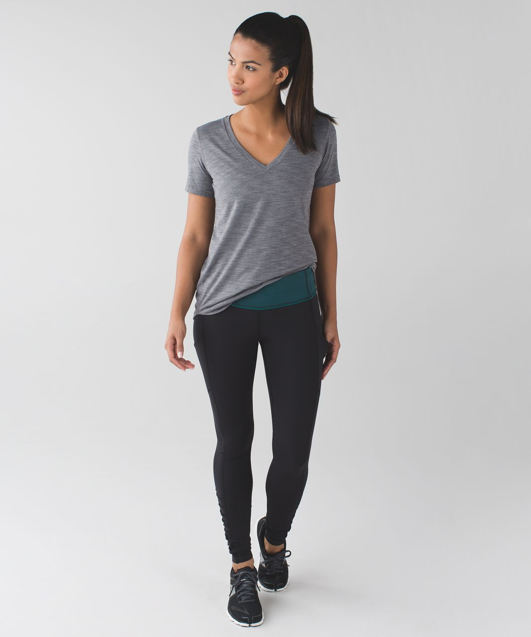 Lululemon Speed Tight IV *Brushed - Black / Mini Pop Stripe Dark Fuel Forage Teal