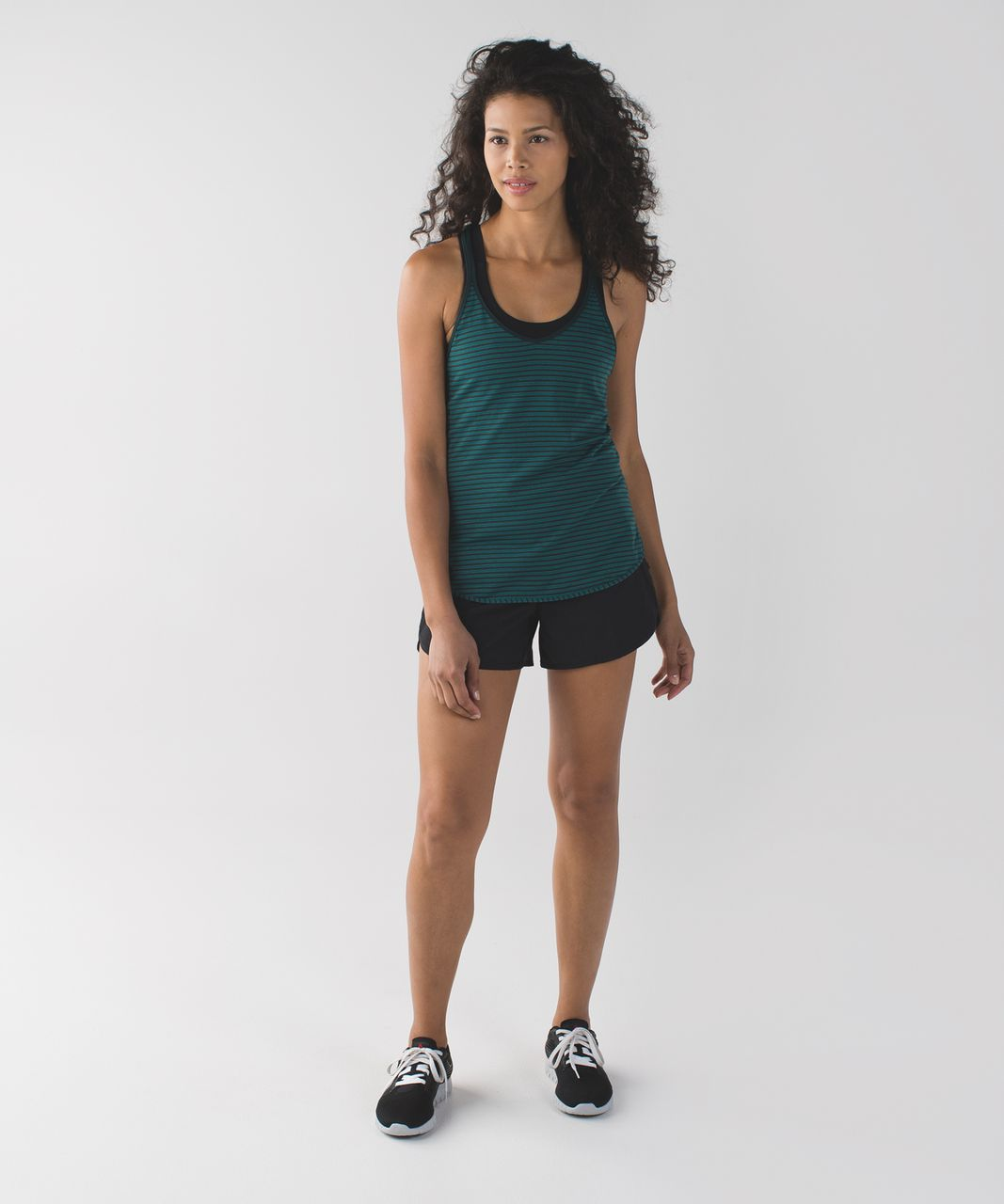 Lululemon What The Sport Singlet II - Silver Stripe Forage Teal Dark Fuel