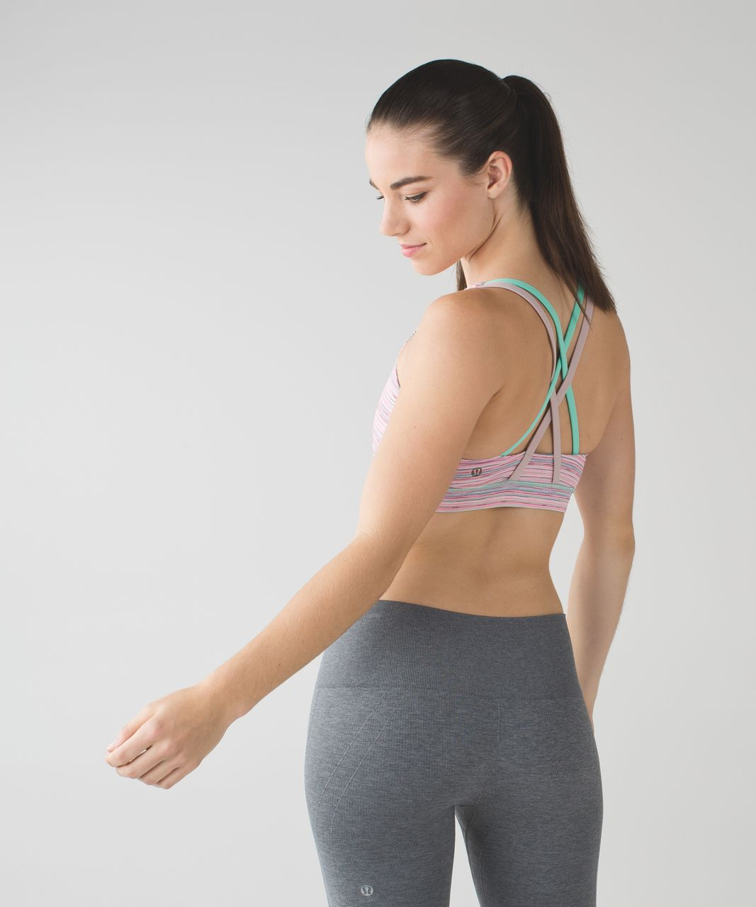 Lululemon Energy Bra - Cyber Stripe Flash Light Menthol / Mink Berry / Menthol
