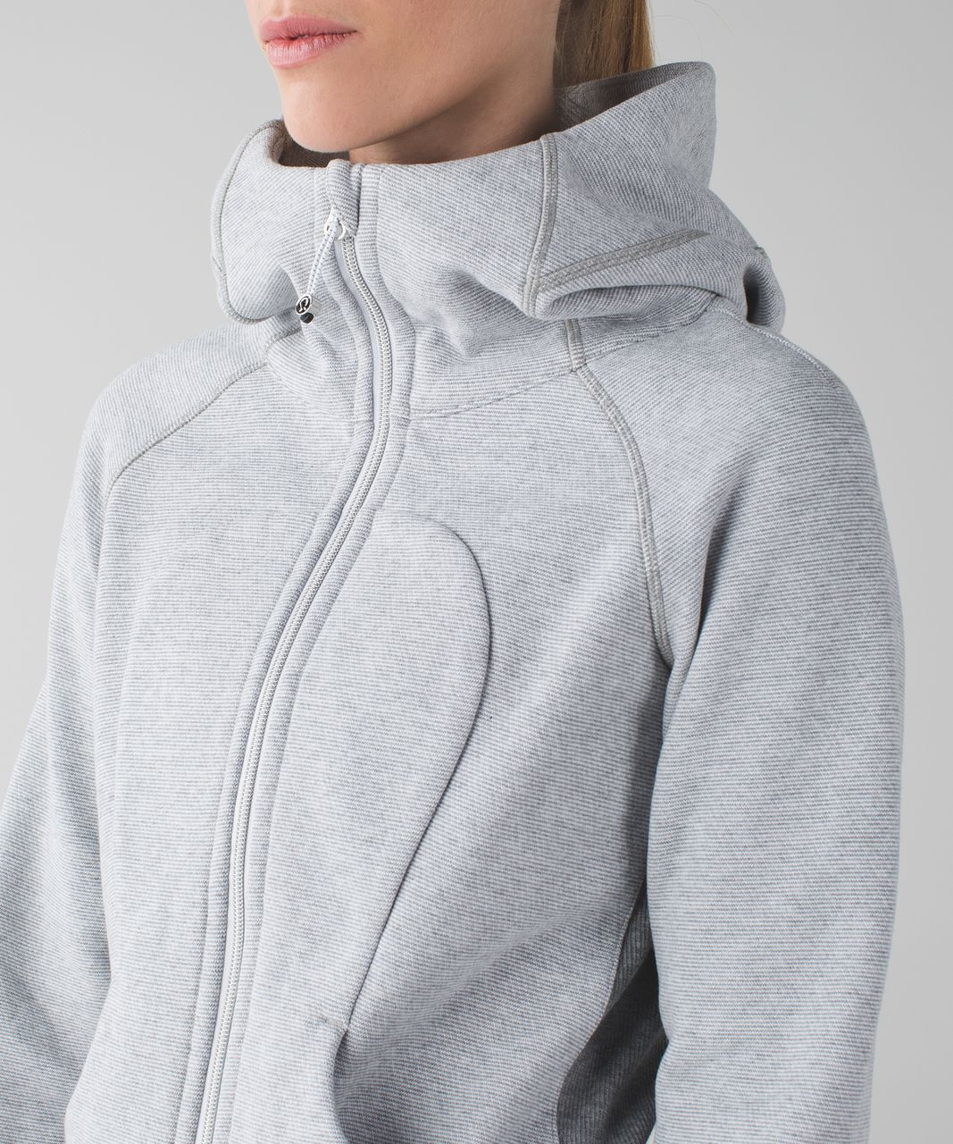 Lululemon Scuba Hoodie III - Wee Stripe White Heathered Medium Grey / Heathered Medium Grey