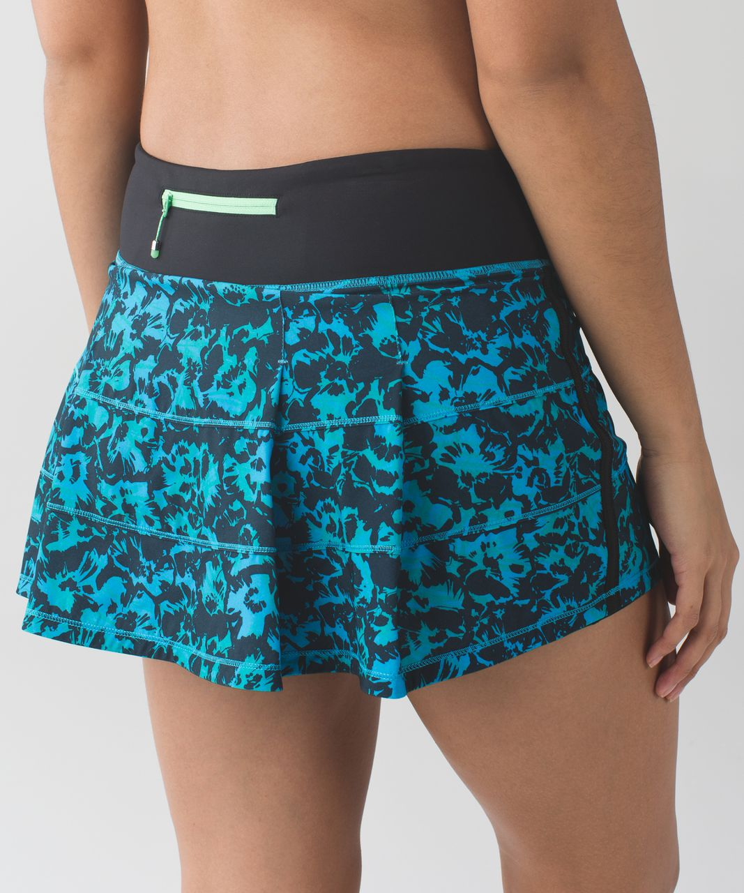 Lululemon Pace Rival Skirt II (Regular) *4-way Stretch - Fleur Sombre Kayak Blue Dragonfly / Black