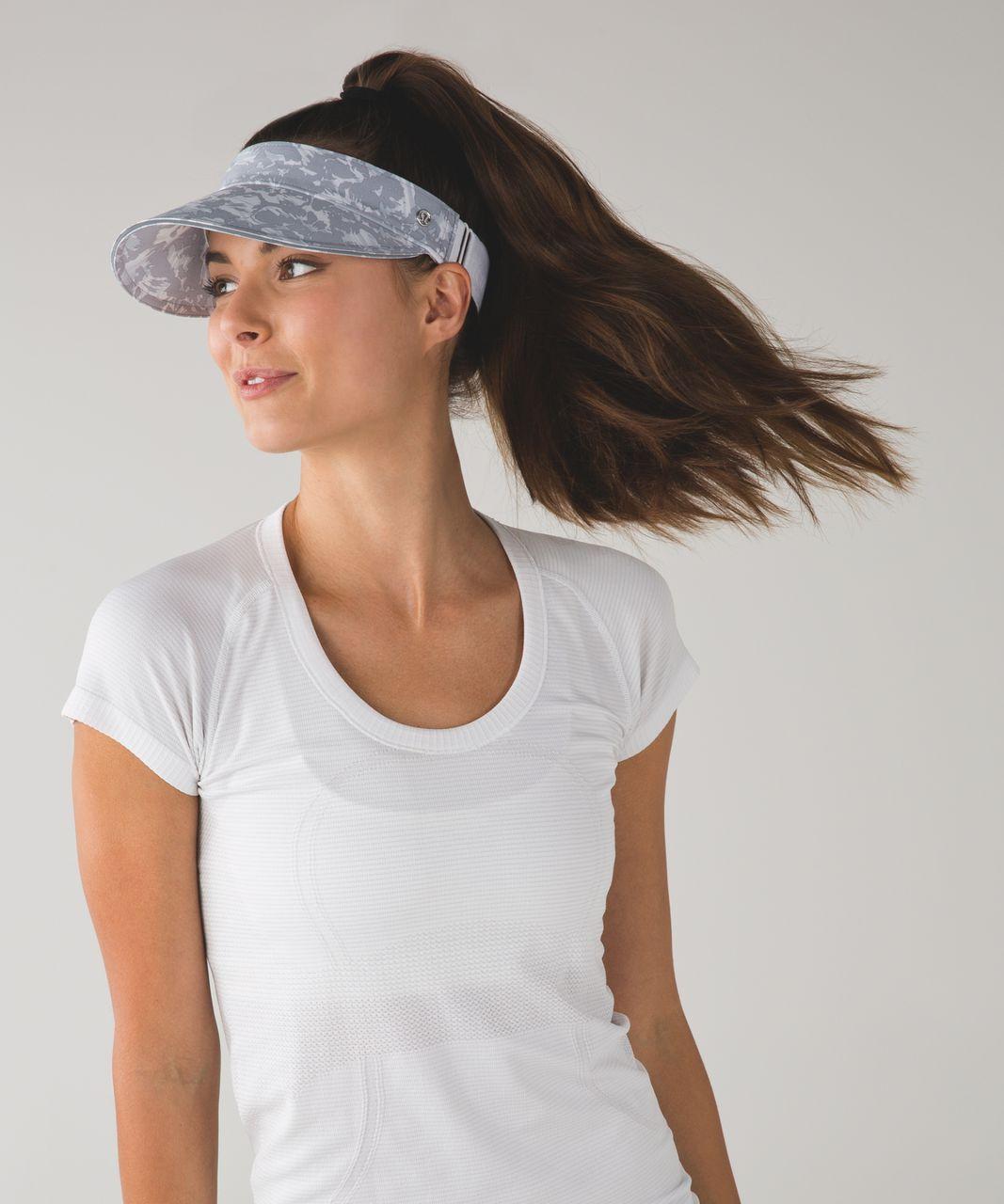 Lululemon Fast Paced Run Visor - Fleur Sombre White Silver Fox / White