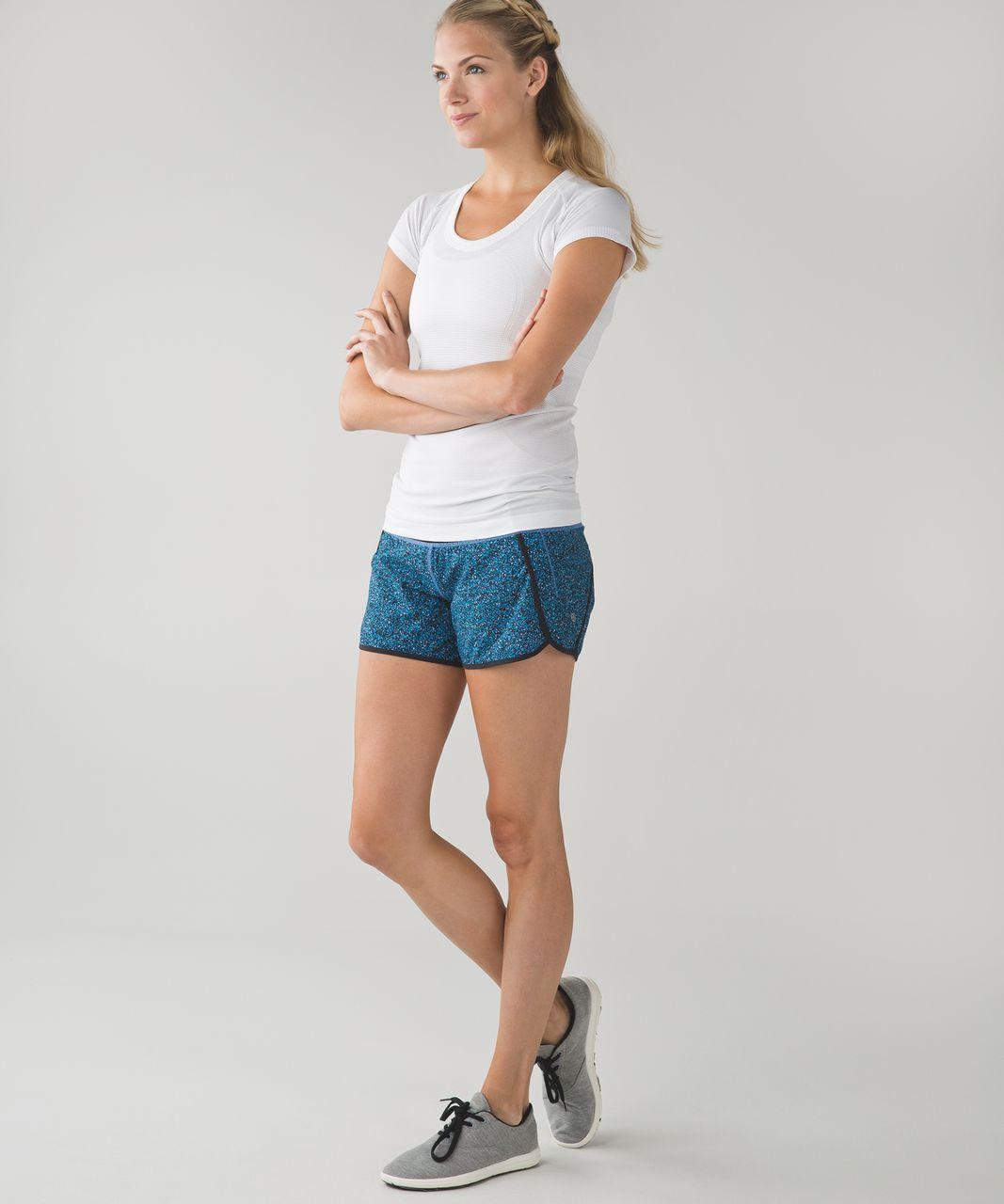 """Lululemon Run Times Short *4-way Stretch 4"""" - Flashback Static Powder Pink Kayak Blue / Black / Kayak Blue"""