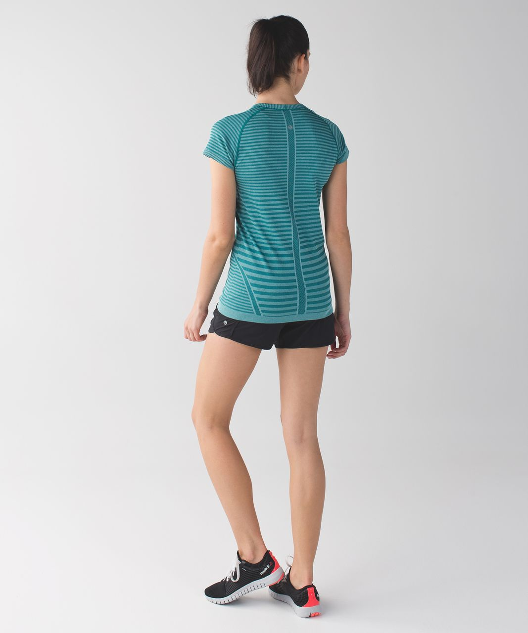 Lululemon Swiftly Tech Short Sleeve Crew - Heathered Forage Teal (Striped)