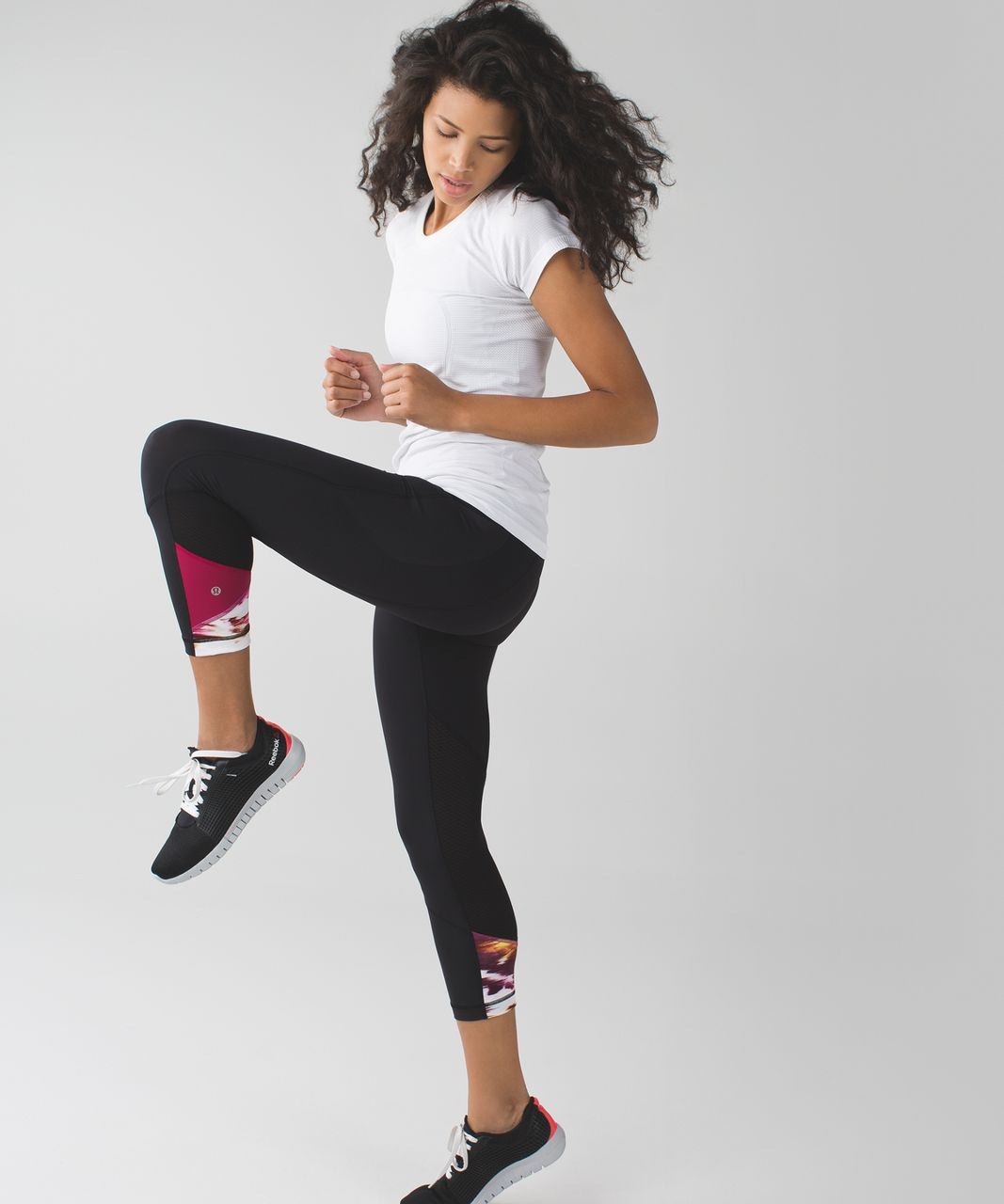 Lululemon Pace Rival Crop - Black / Pigment Wind Berry Rumble Multi / Berry Rumble