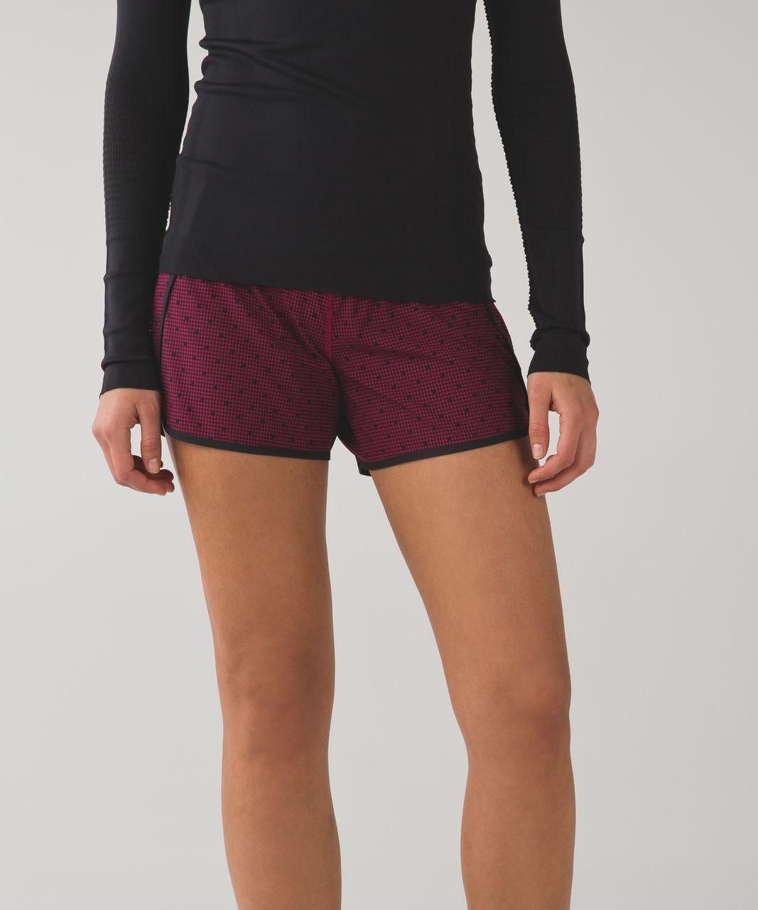 "Lululemon Run Times Short *4-way Stretch 4"" - Dottie Eigth Gingham Printed Berryrumble Black / Black"