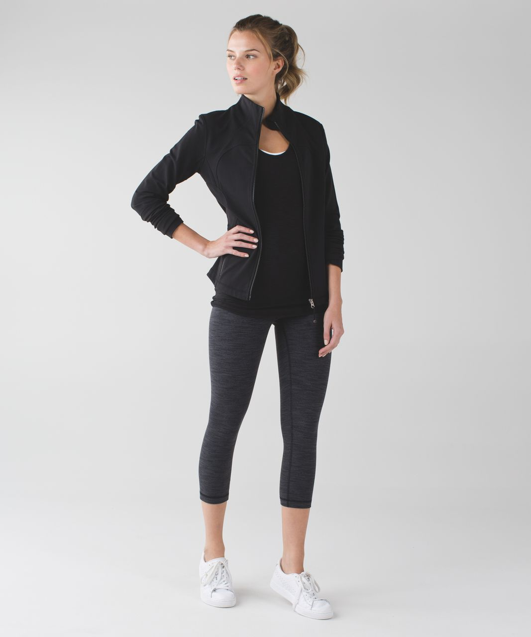 "Lululemon Wunder Under Crop (Hi-Rise) *21"" - Diamond Jacquard Space Dye Black Dark Slate"