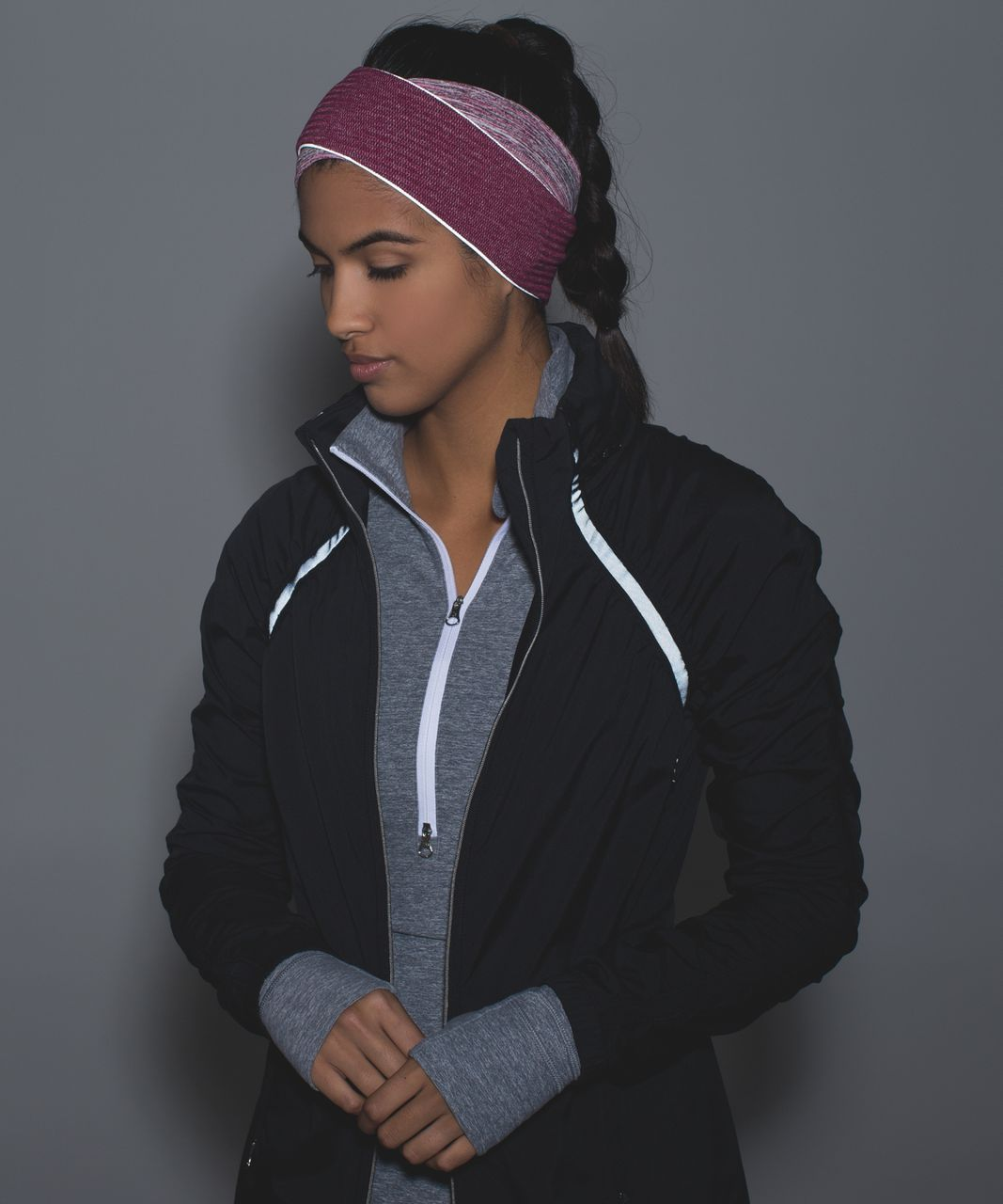 Lululemon Run And Done Ear Warmer *Ponytail - Space Dye Camo Berry Rumble Multi / Mini Check Pique Bordeaux Drama Heathered Berry Rumble