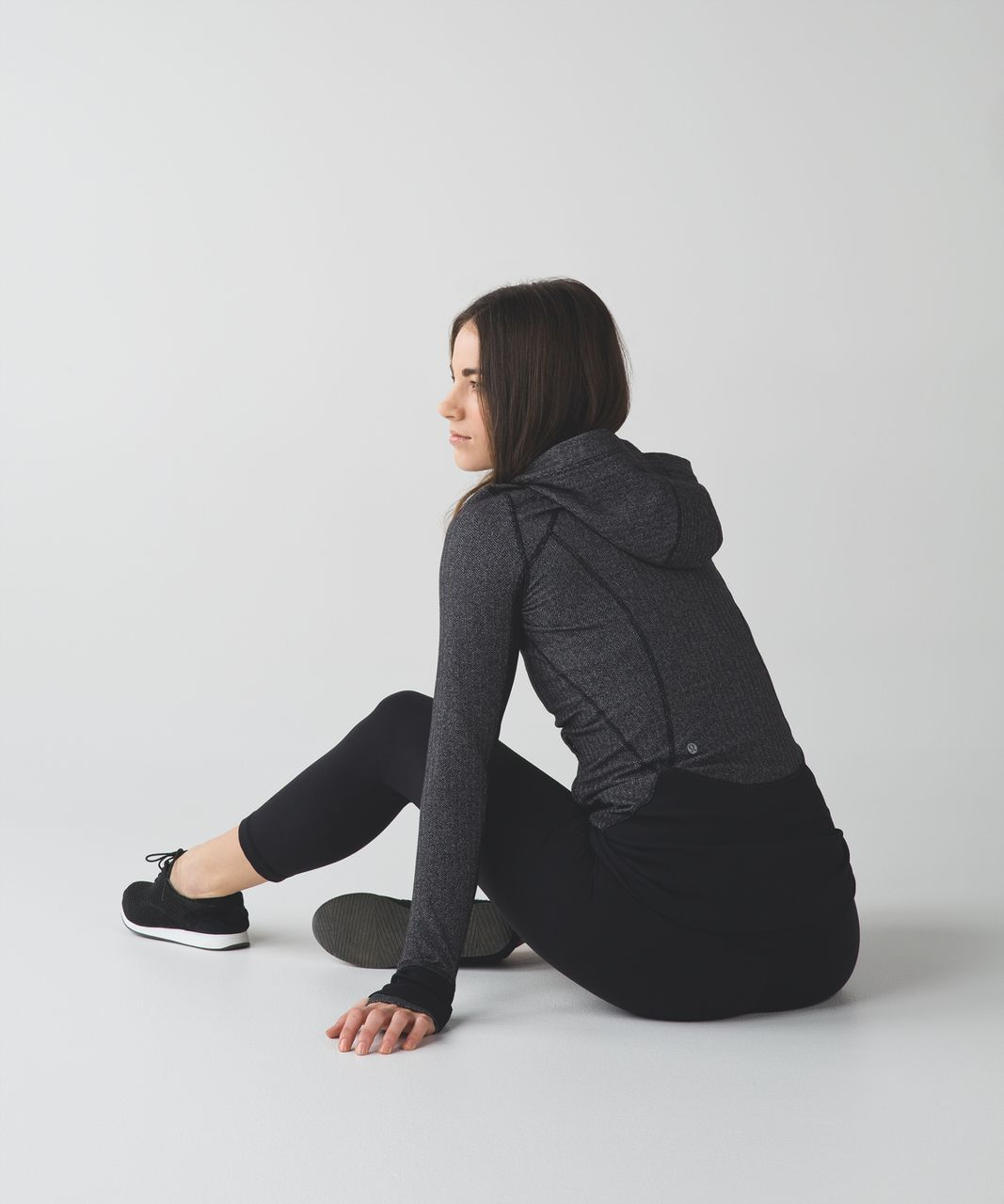 Lululemon Daily Practice Jacket - Heathered Herringbone Heathered Black Black / Black