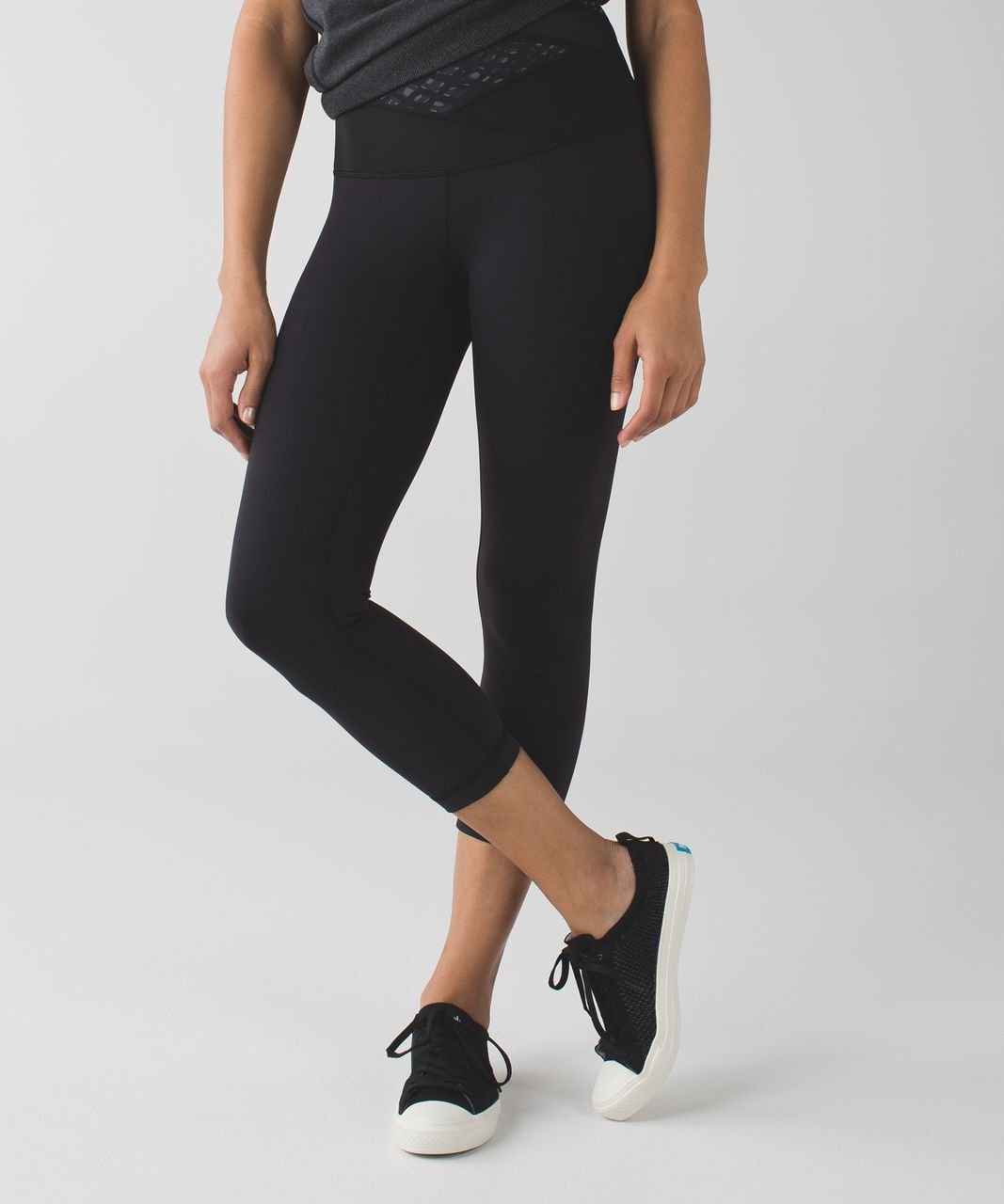 Lululemon Wunder Under Crop (Hi-Rise) *Full-On Luon - Black / Simply Lace Play Dark Slate Black / Millie Mesh Dark Slate Black