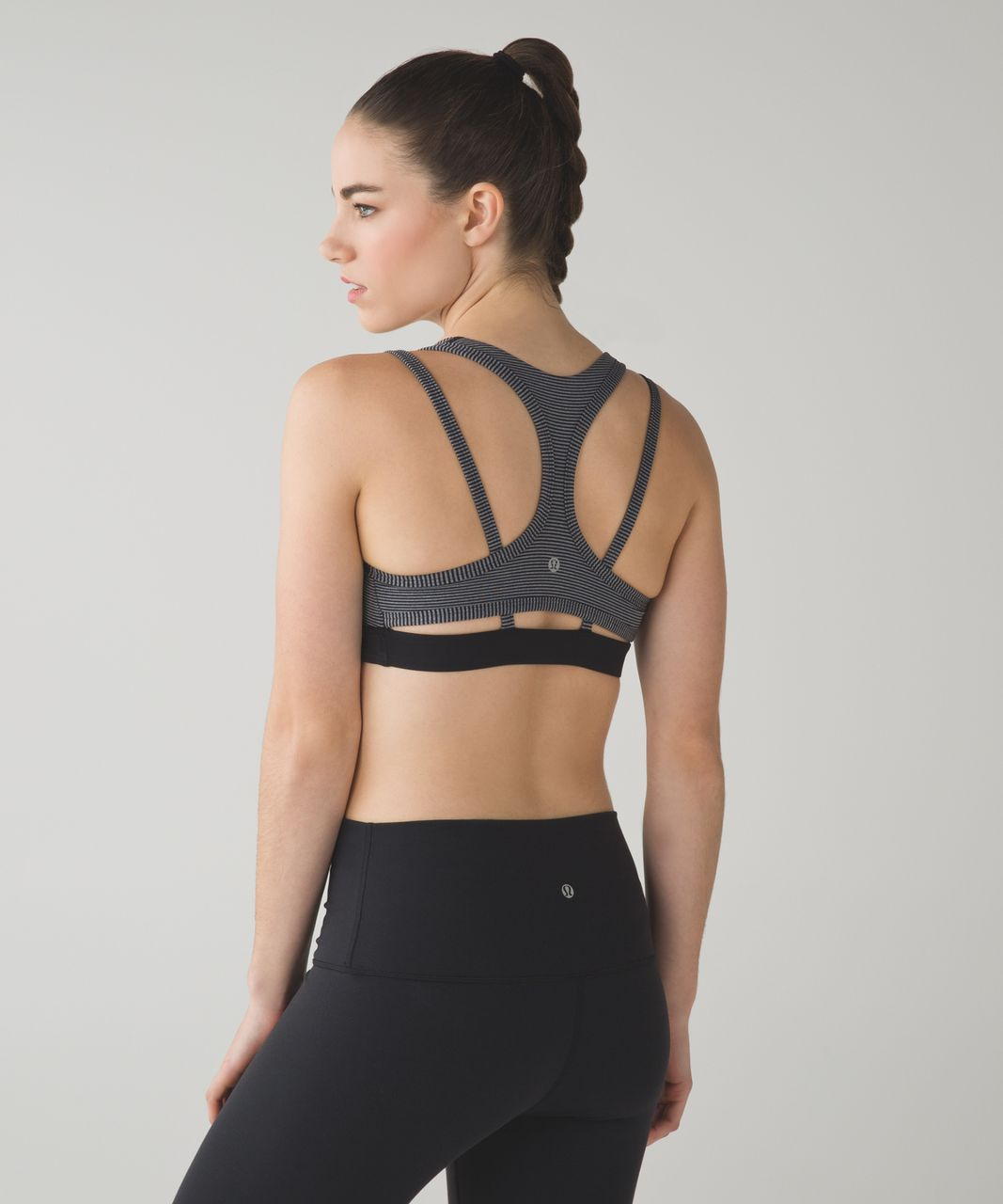 Lululemon Splendour Bra - Tonka Stripe Black Heathered Slate / Black
