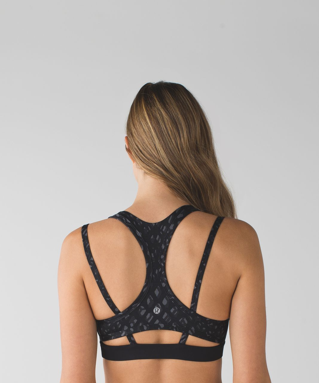 Lululemon Splendour Bra - Lace Play Dark Slate Black / Black