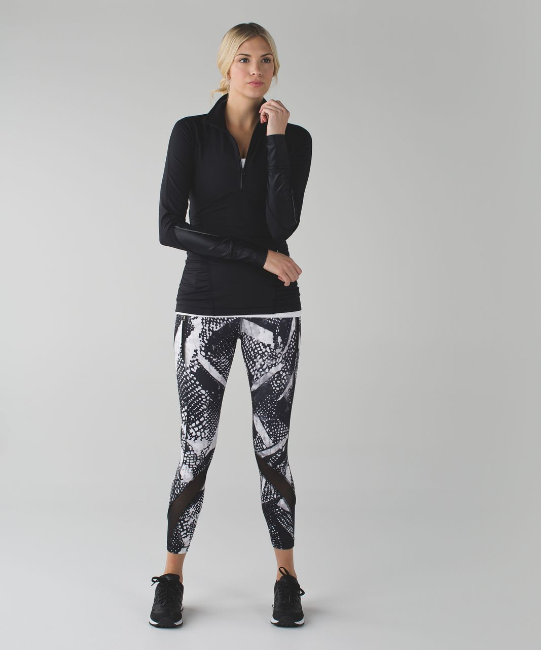 Lululemon Inspire Tight II (Mesh) *Full-On Luxtreme - Static Mist White Black / Black