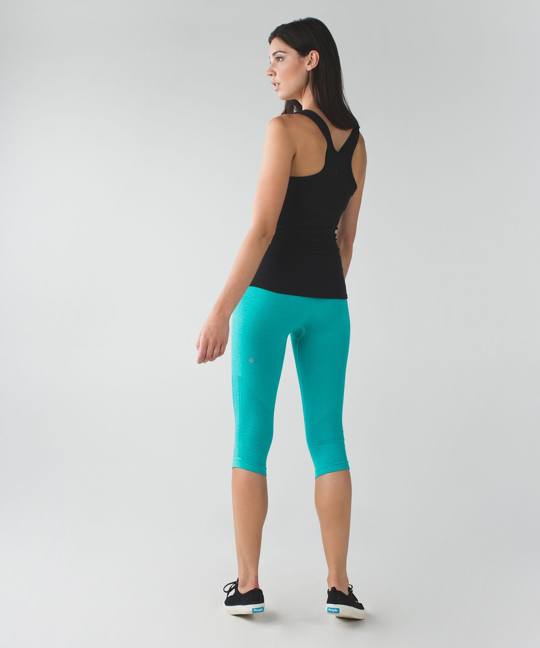 Lululemon In The Flow Crop II - Heathered Cosmic Teal
