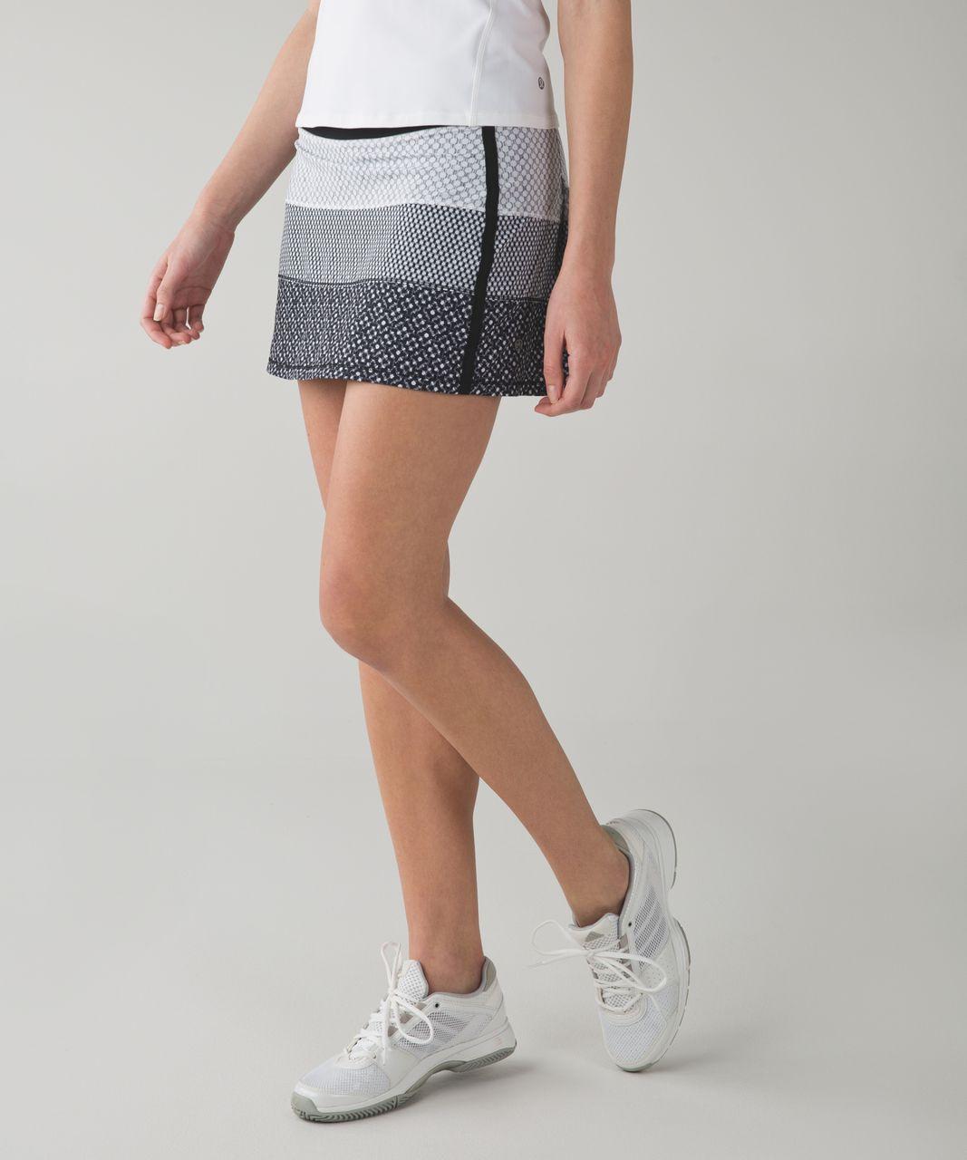 Lululemon Pace Rival Skirt II (Tall) *4-way Stretch - Dottie Eyelet White Black / Mish Mesh White Black / Millie Mesh White Black