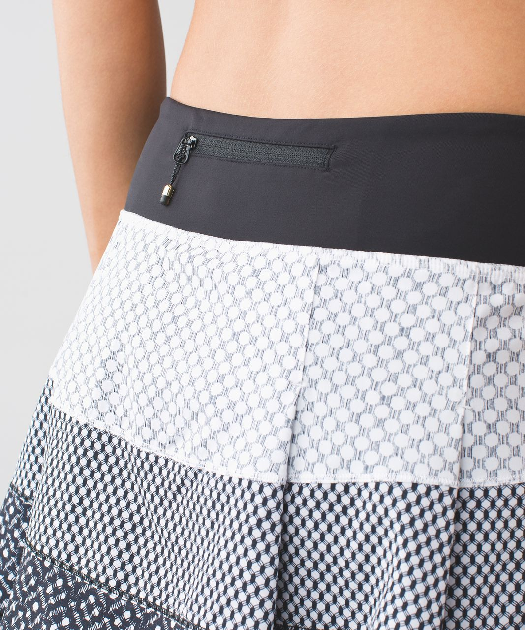 Lululemon Pace Rival Skirt II (Regular) *4-way Stretch - Dottie Eyelet White Black / Mish Mesh White Black / Millie Mesh White Black