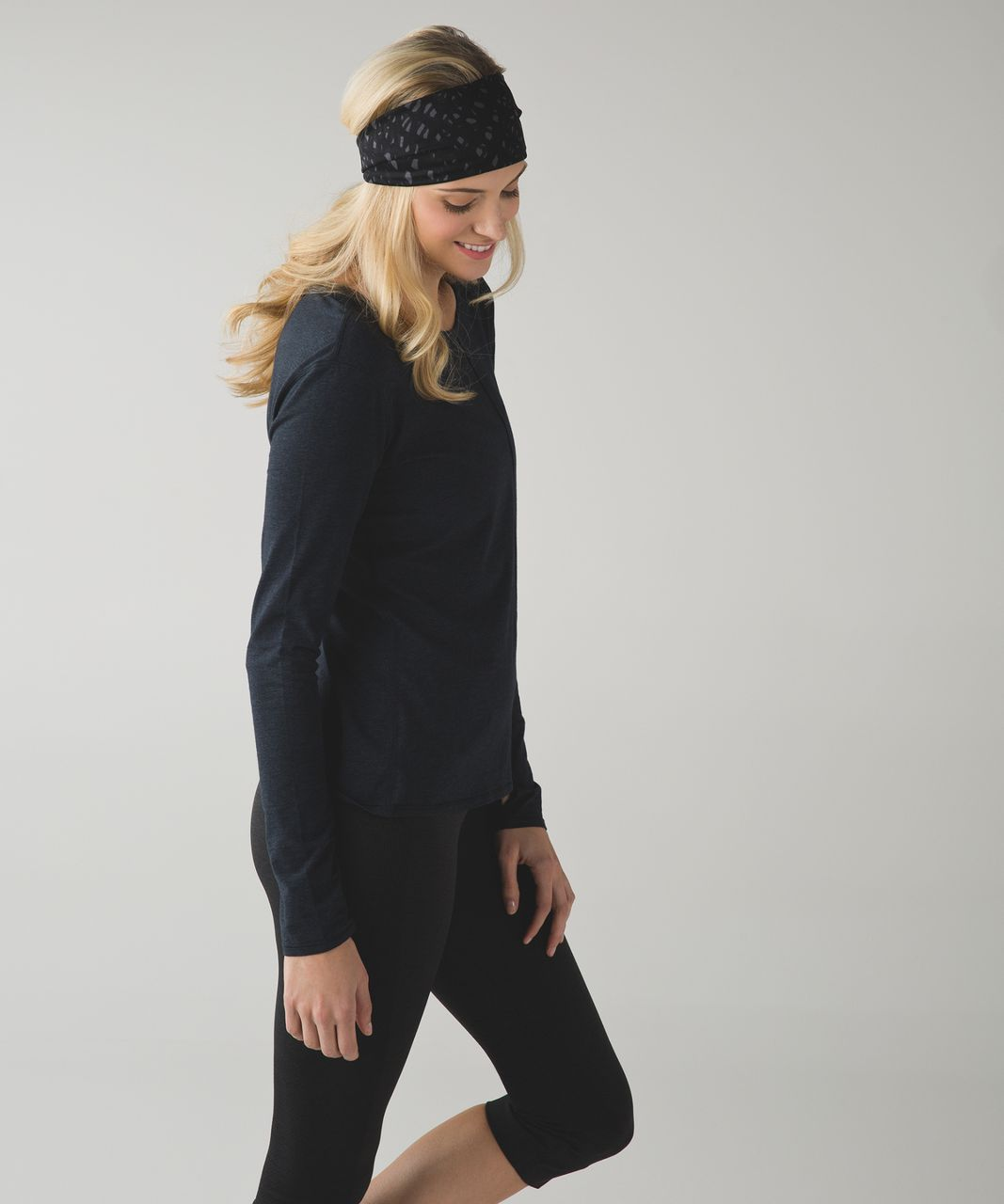 Lululemon Fringe Fighter Headband - Lace Play Dark Slate Black / Heathered Black