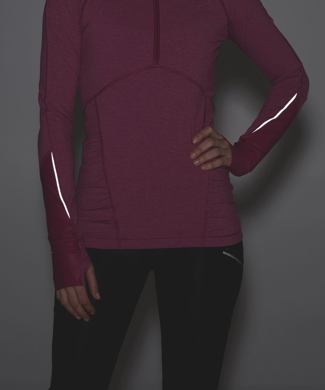 Lululemon Kriss Cross 1/2 Zip - Tonka Stripe Raspberry Heathered Raspberry / Raspberry