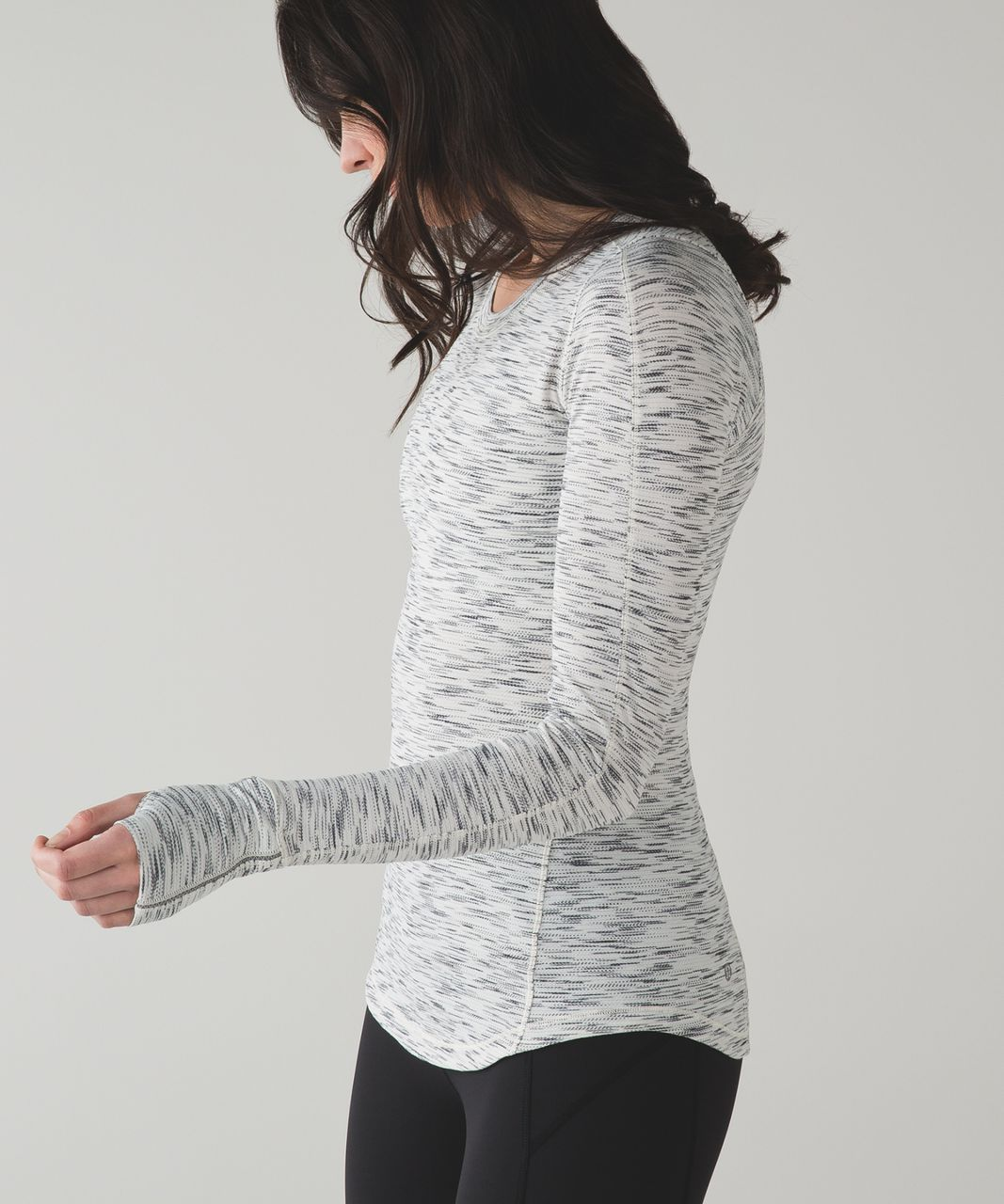 Lululemon 5 Mile Long Sleeve - Tiger Space Dye Black White
