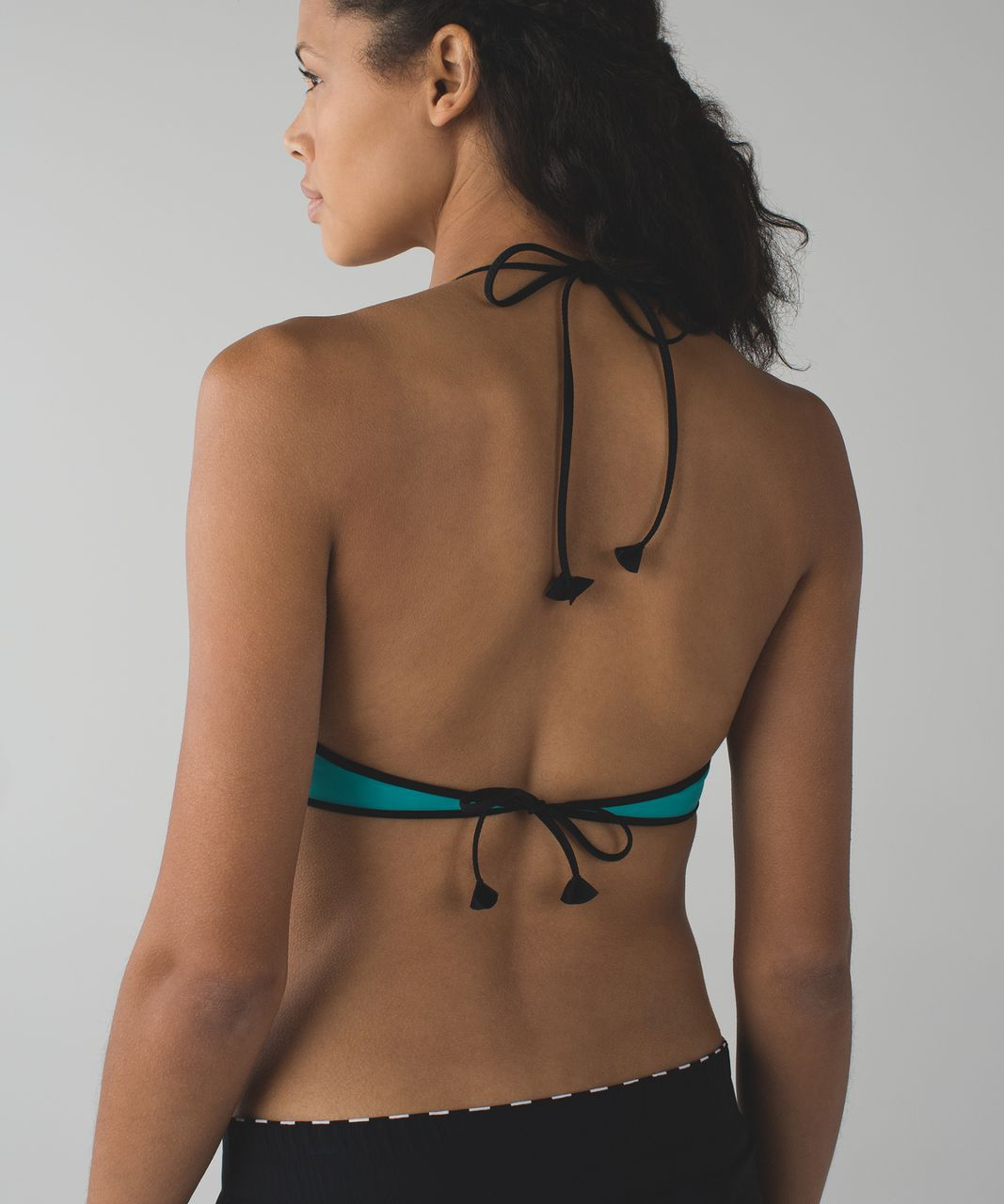 Lululemon Water:  Surf To Sand Tie Top - Peacock Blue / Black / Narrow Bold Stripe Vertical Printed White Black