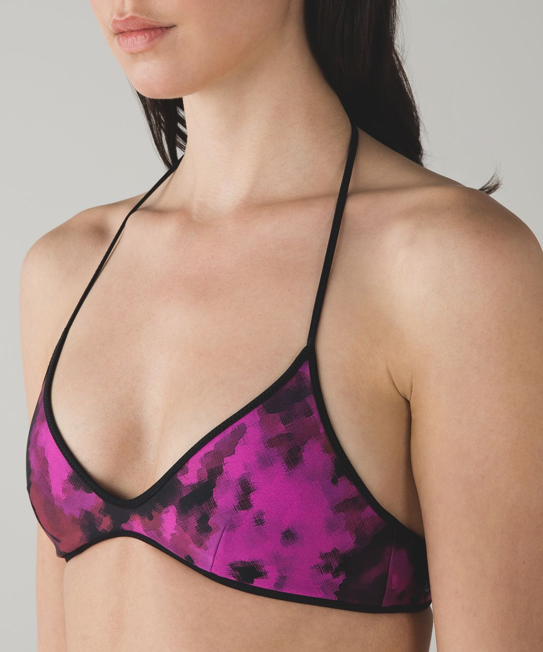 Lululemon Water:  Surf To Sand Tie Top - Black / Blooming Pixie Raspberry Black