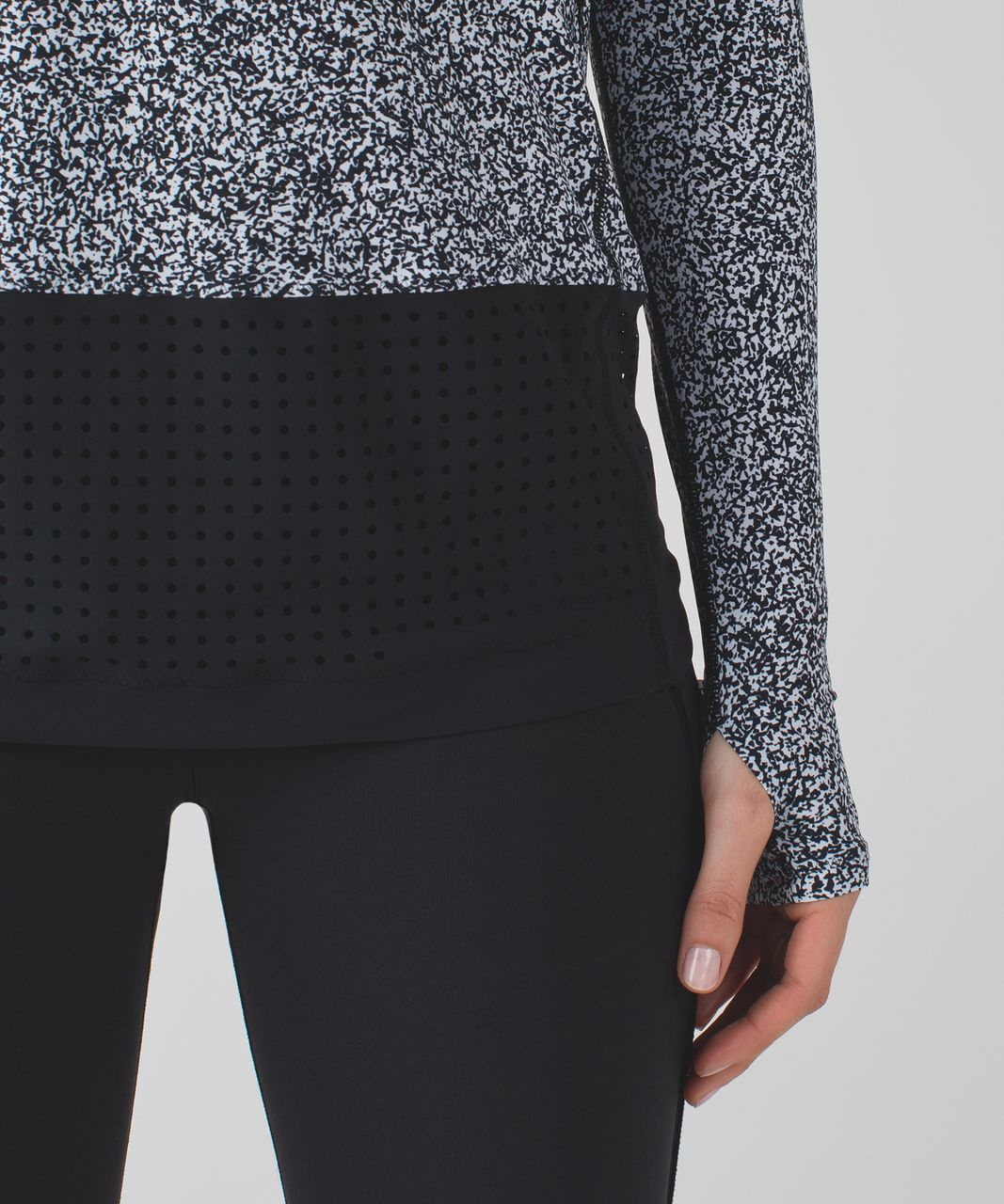 Lululemon Vent It Long Sleeve - Flashback Static White Black / Black
