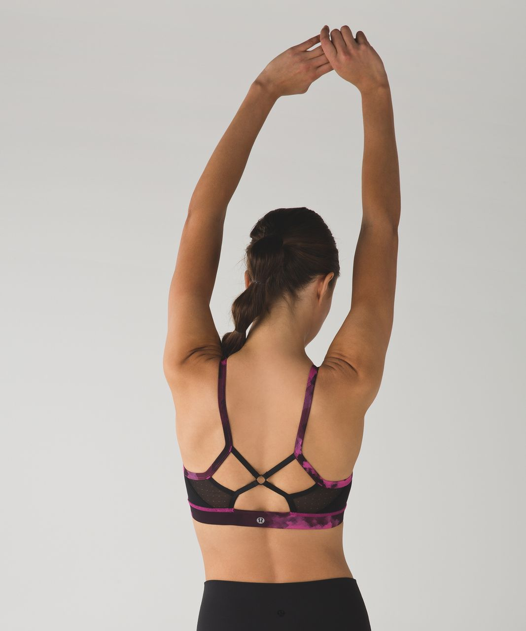 Lululemon Sweaty Endeavor Bra - Blooming Pixie Raspberry Black / Black