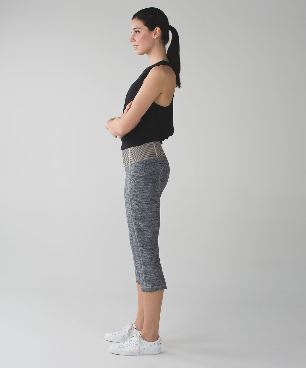 Lululemon Gather & Crow Crop II - Space Dye Camo Black Dark Slate / Tonka Stripe Black Cashew