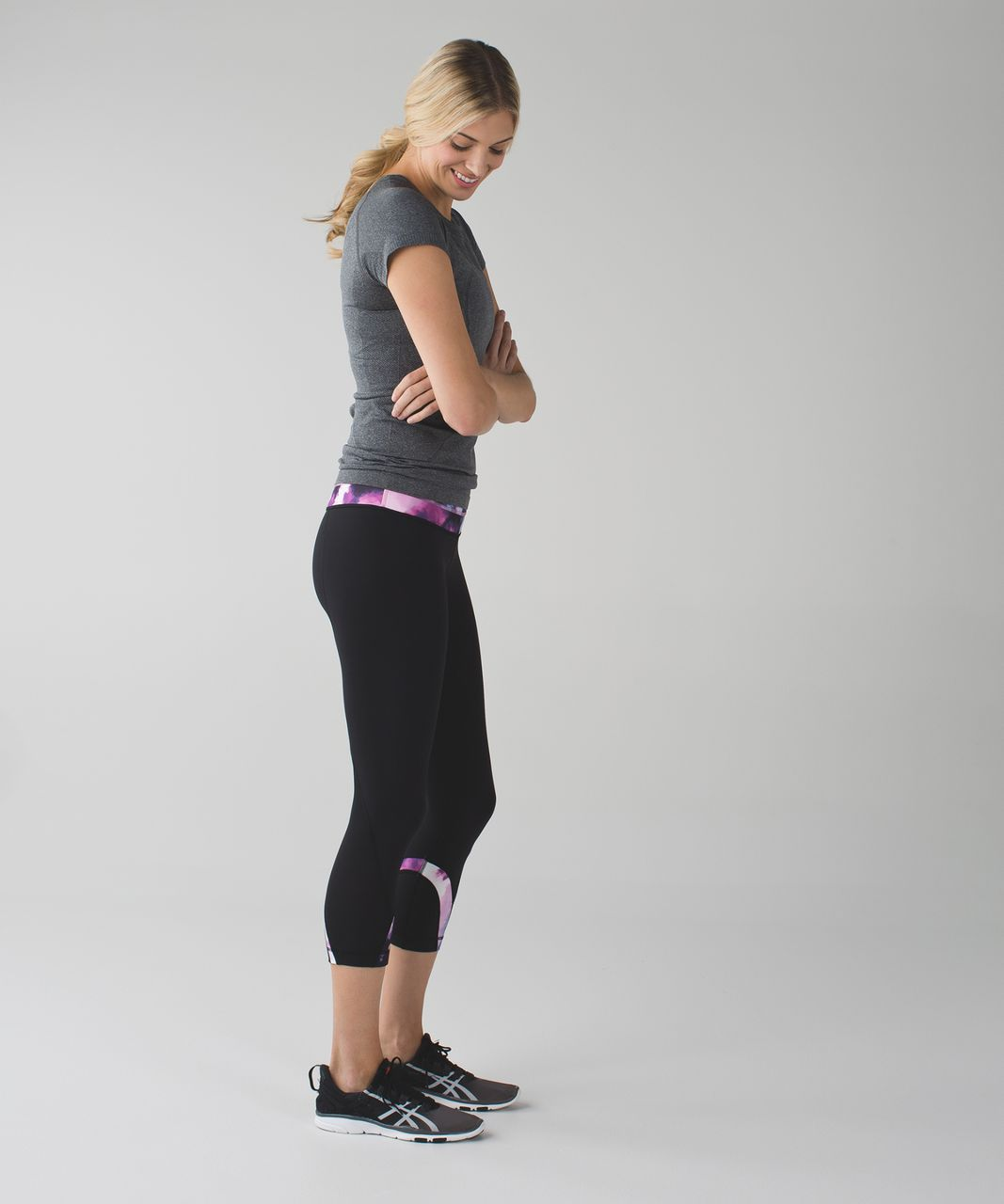 Lululemon Run:  Inspire Crop II *All Luxtreme - Black / Blooming Pixie Multi