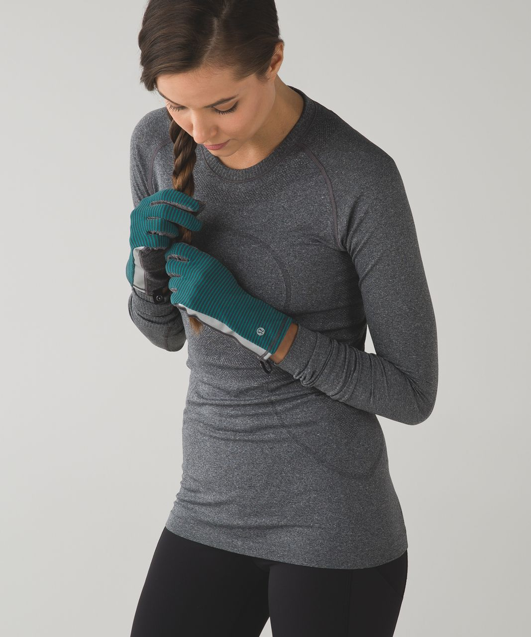 Lululemon Run With Me Gloves - Mini Pop Stripe Dark Fuel Forage Teal / Heathered Black