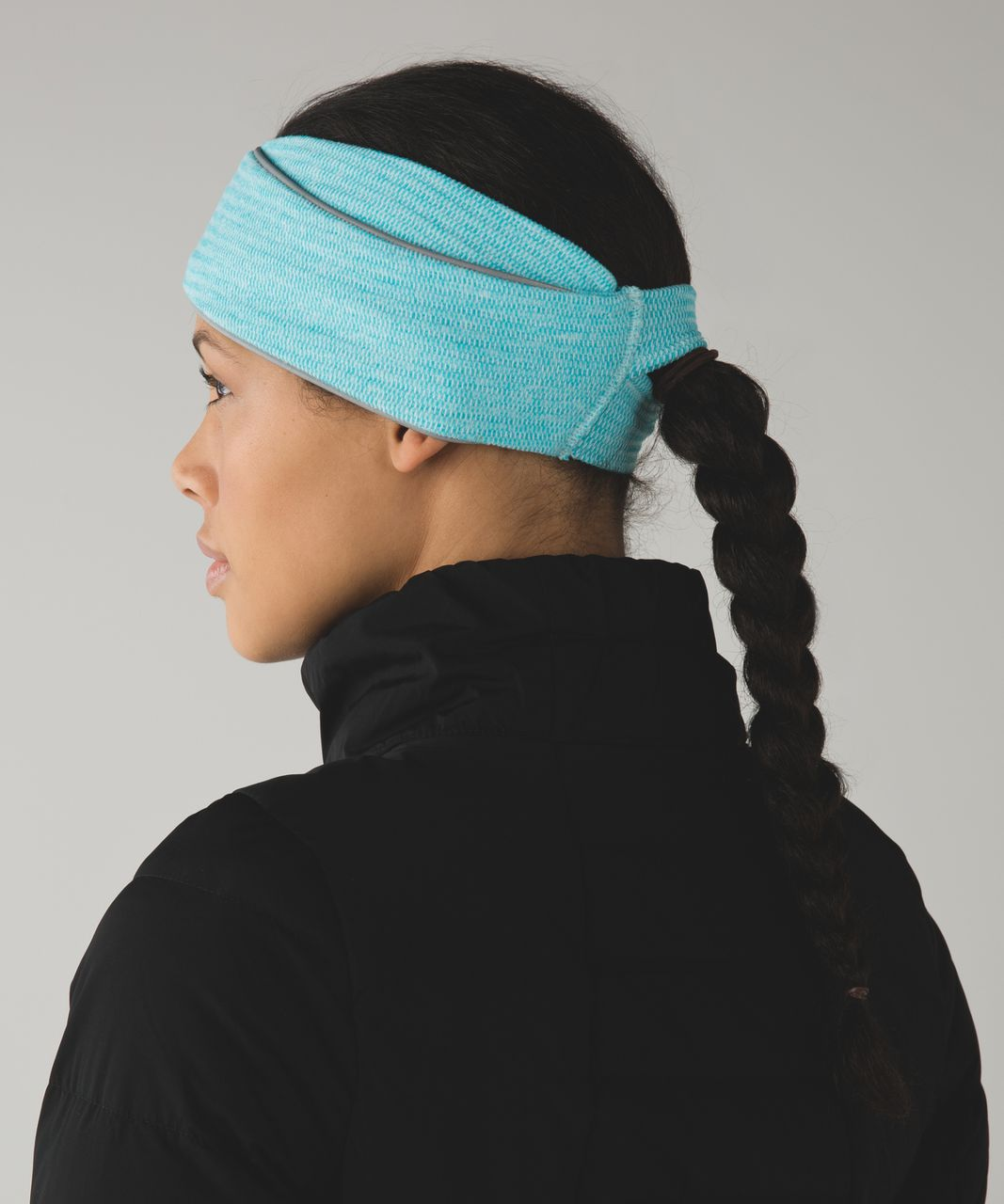 Lululemon Run And Done Ear Warmer *Ponytail - Mini Check Pique Aquamarine Heathered Peacock Blue / Mini Check Pique Aquamarine Heathered Peacock Blue