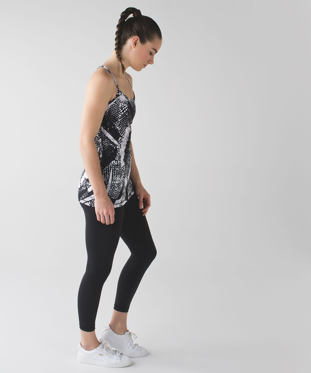 Lululemon Power Y Tank *Luon - Static Mist White Black