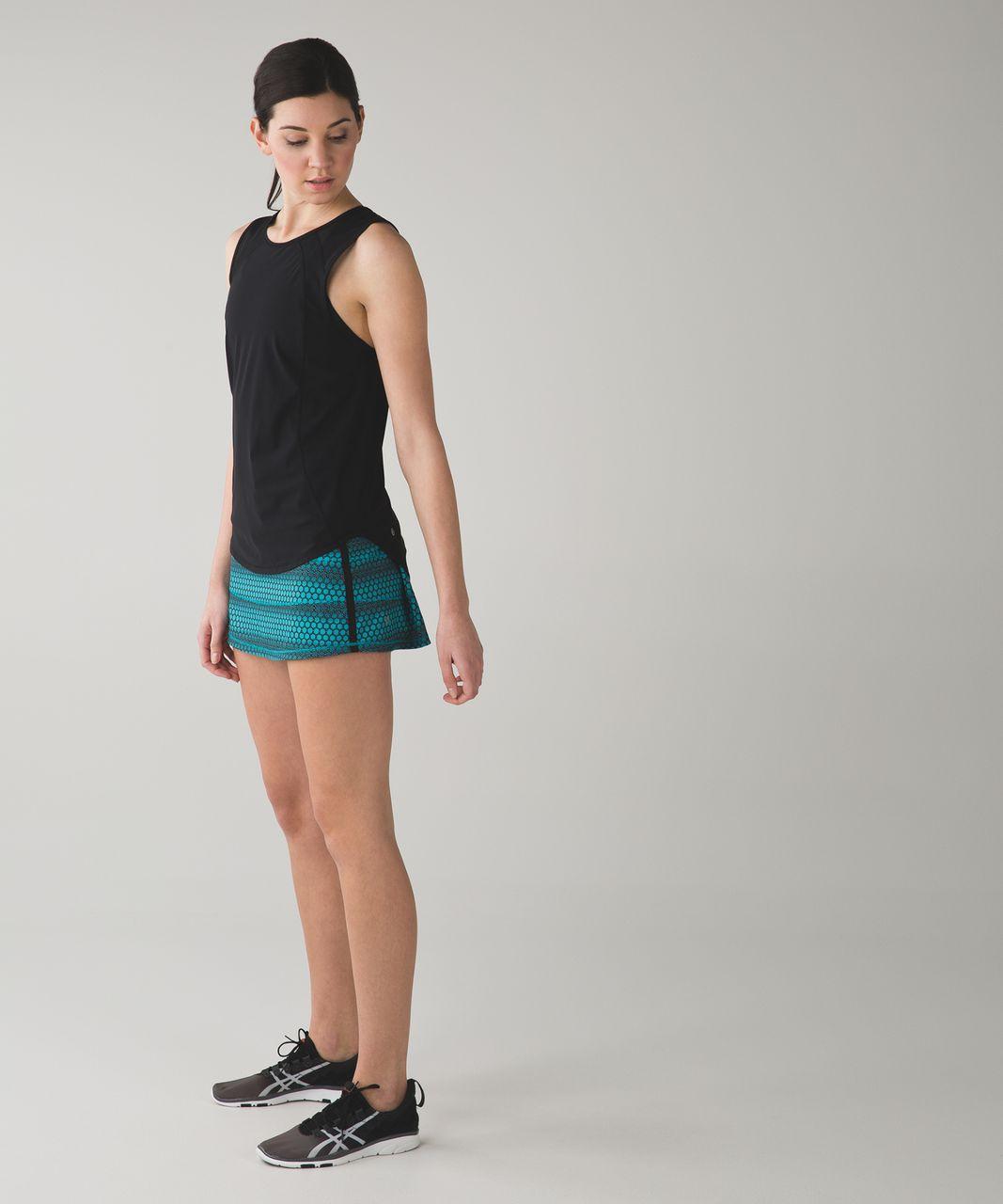 Lululemon Pace Rival Skirt II (Regular) *4-way Stretch - Stardust Geo Peacock Blue Black / Black