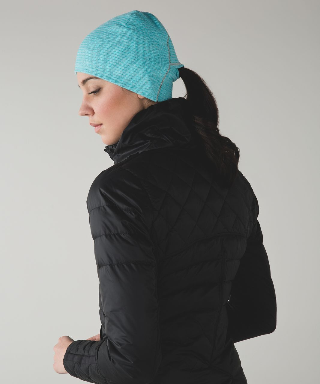 Lululemon Run And Done Toque - Mini Check Pique Aquamarine Heathered Peacock Blue