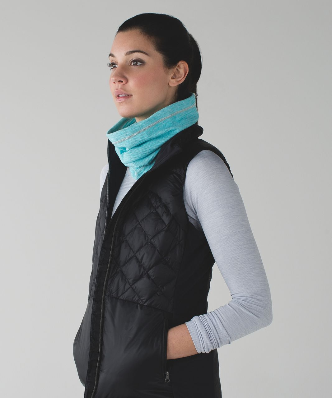 Lululemon Run Fast Neck Warmer - Mini Check Pique Aquamarine Heathered Peacock Blue
