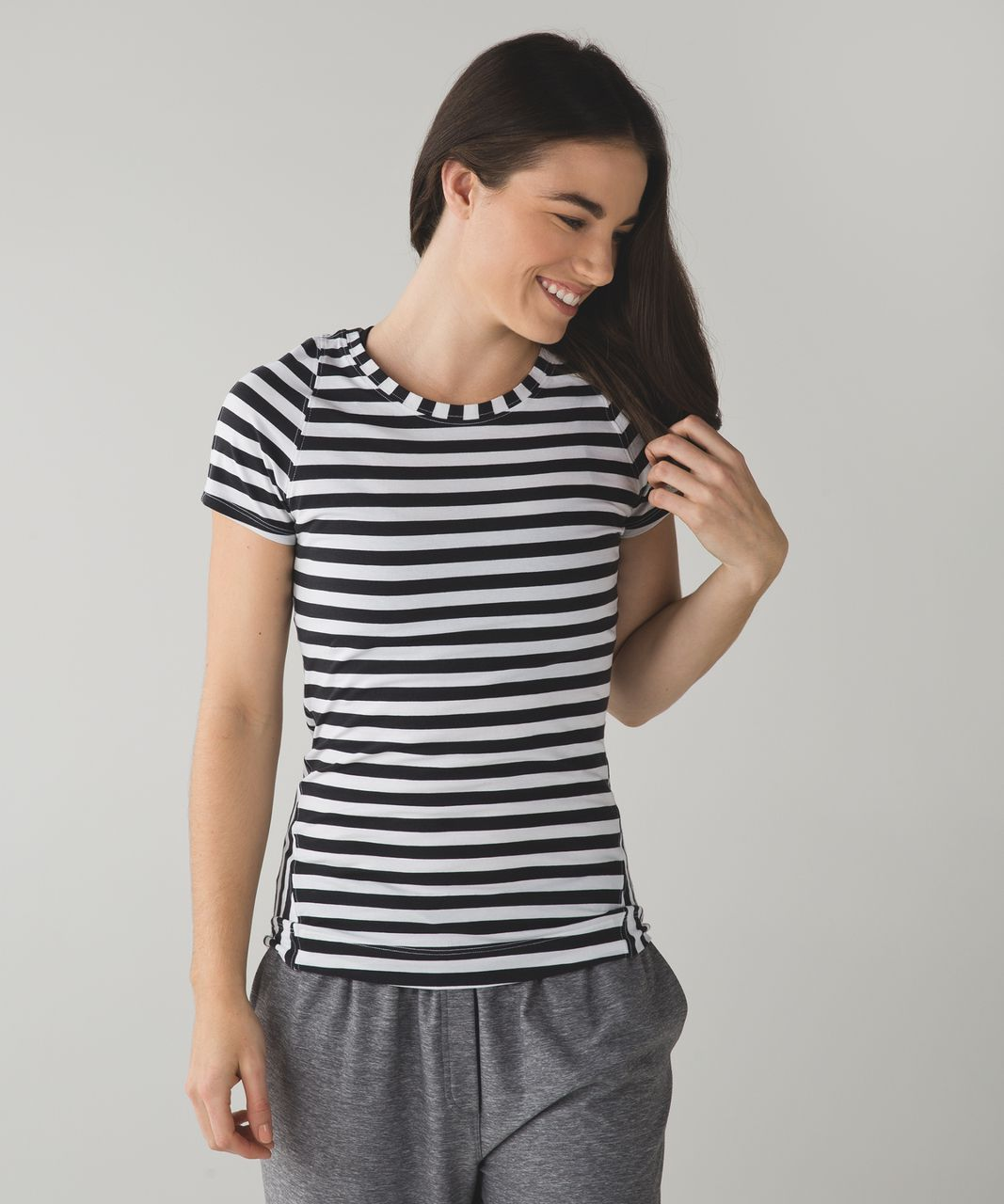 Lululemon Let Be Short Sleeve Tee - Apex Stripe Black White